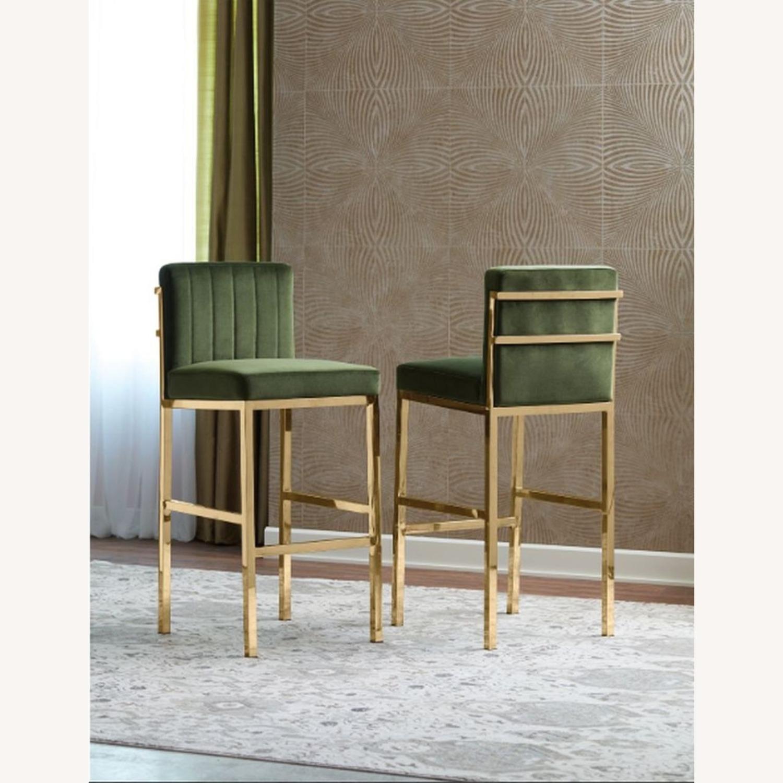 Counter Height Stool In Grey Velvet & Rose Brass - image-2