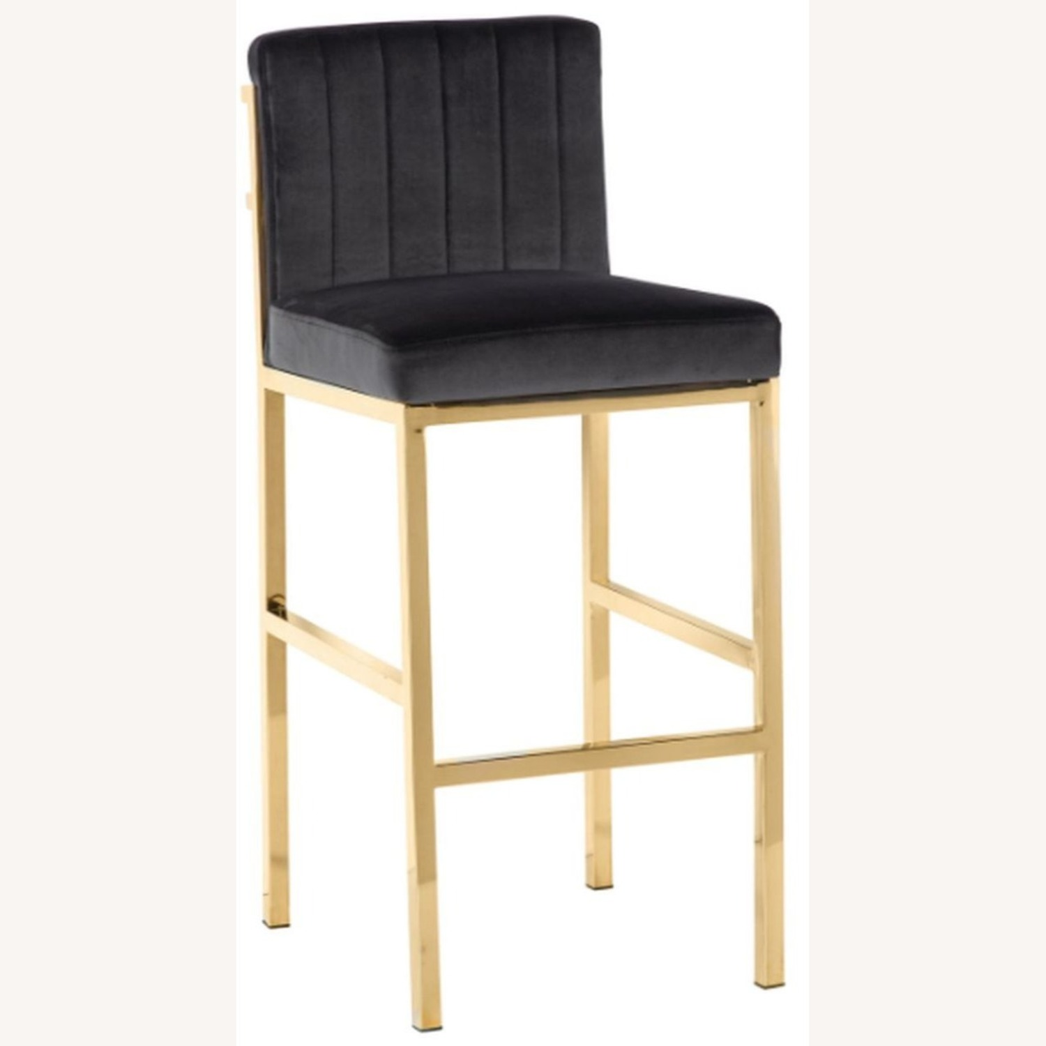 Bar Stool In Charcoal Grey W/ Rose Brass Base - image-0