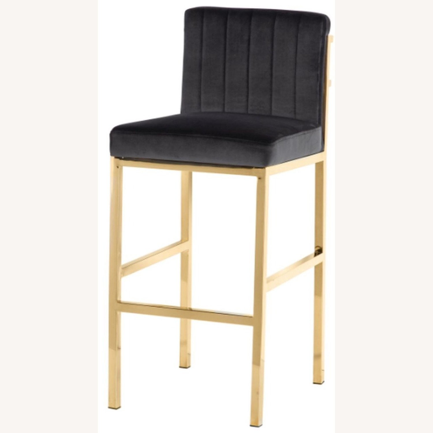 Bar Stool In Charcoal Grey W/ Rose Brass Base - image-1