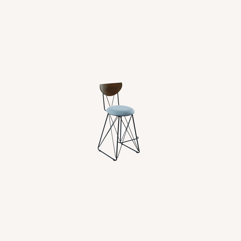 Modern Bar Stool In Linen-Like Blue Fabric - image-3