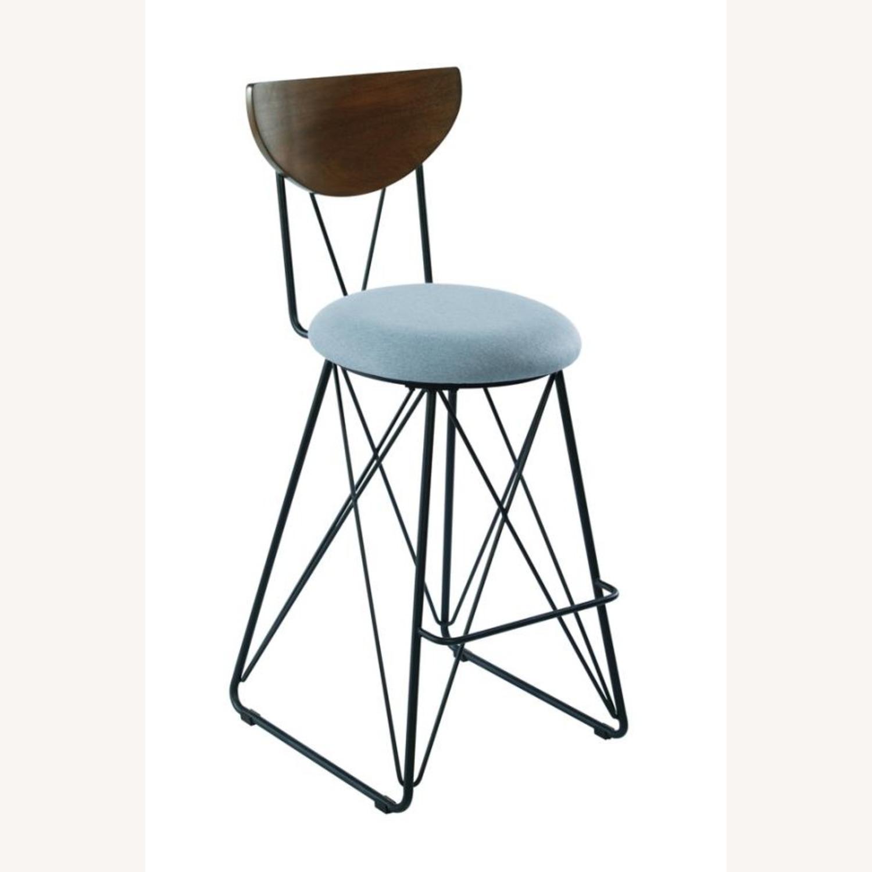 Modern Bar Stool In Linen-Like Blue Fabric - image-0