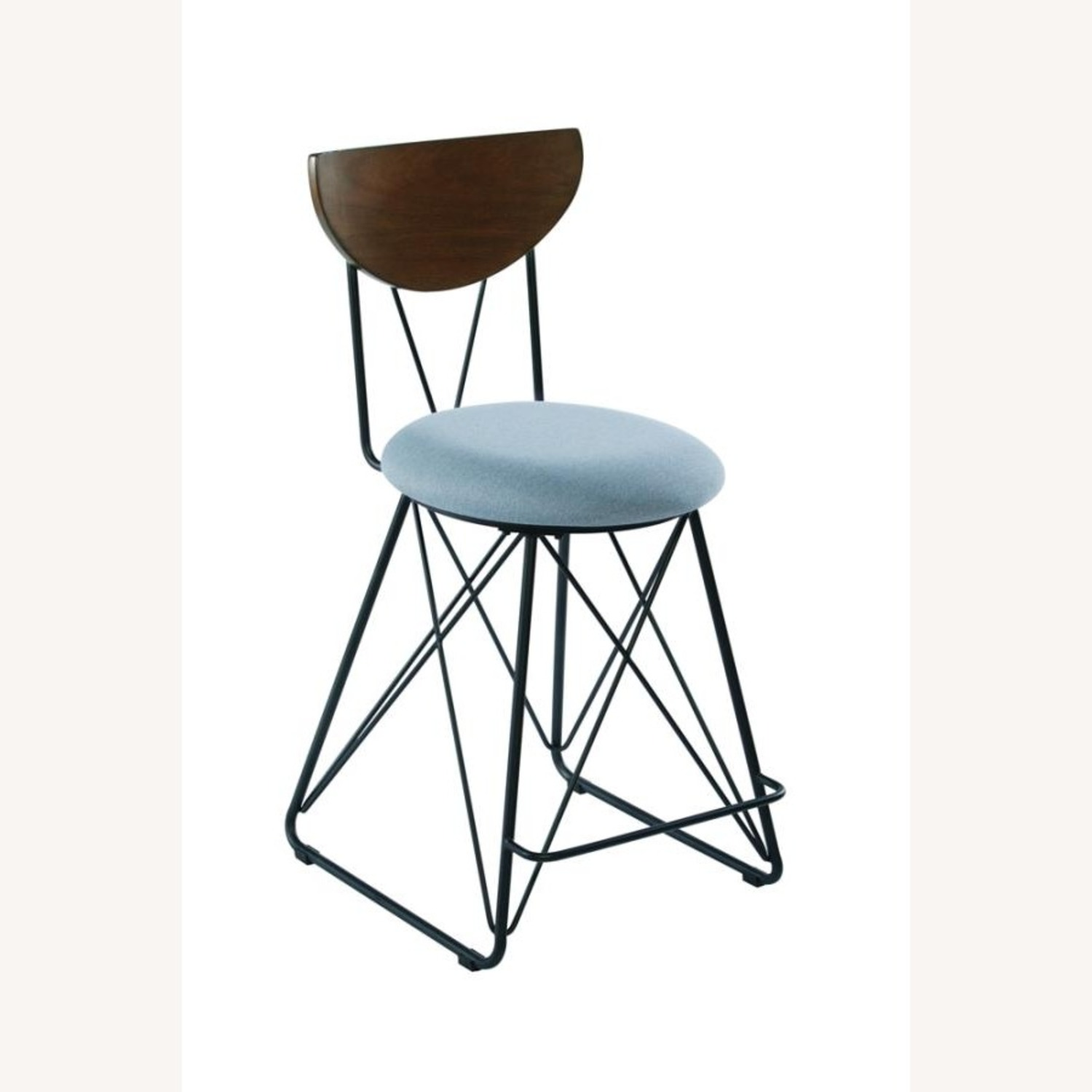 Modern Counter Height Stool In Blue Fabric - image-0