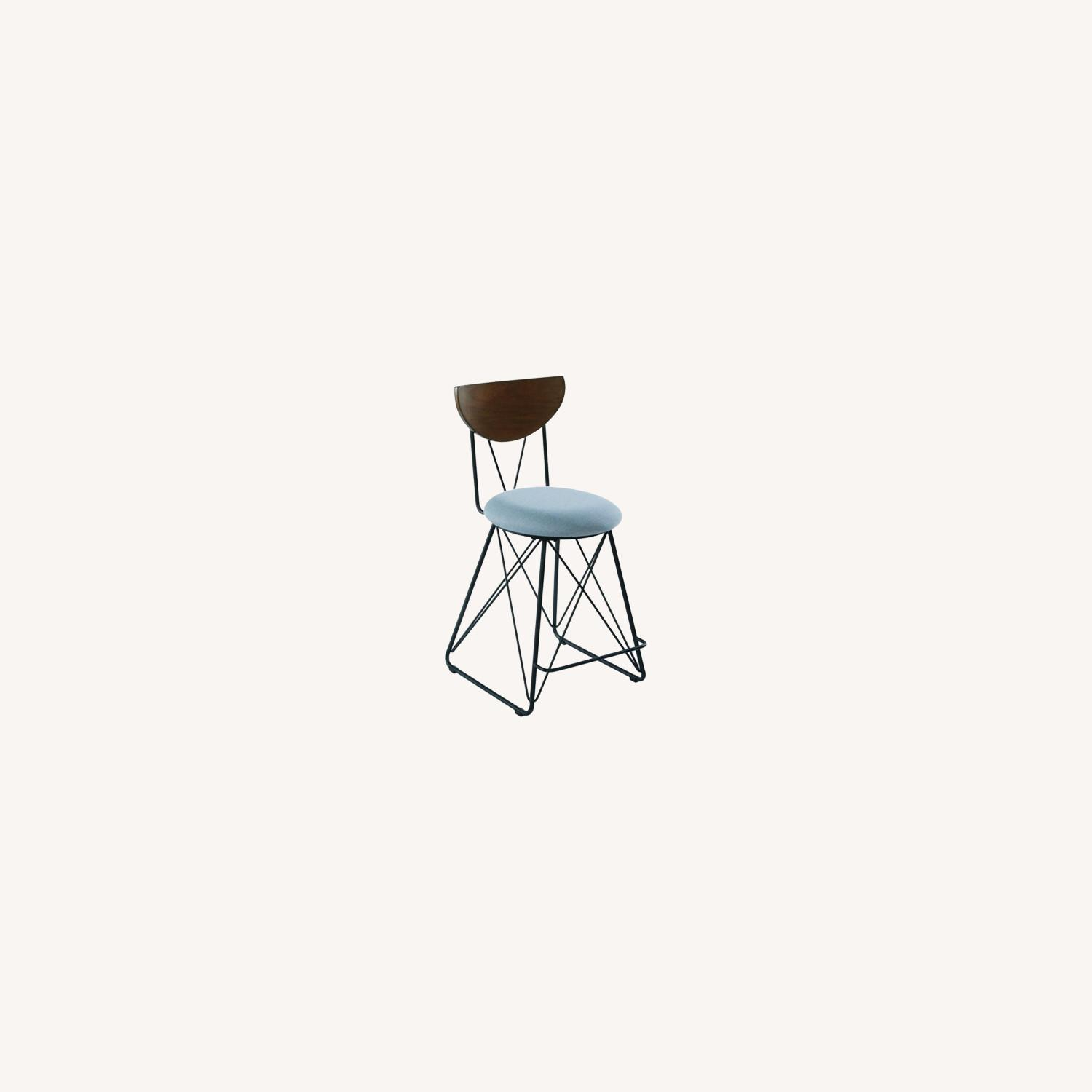 Modern Counter Height Stool In Blue Fabric - image-3