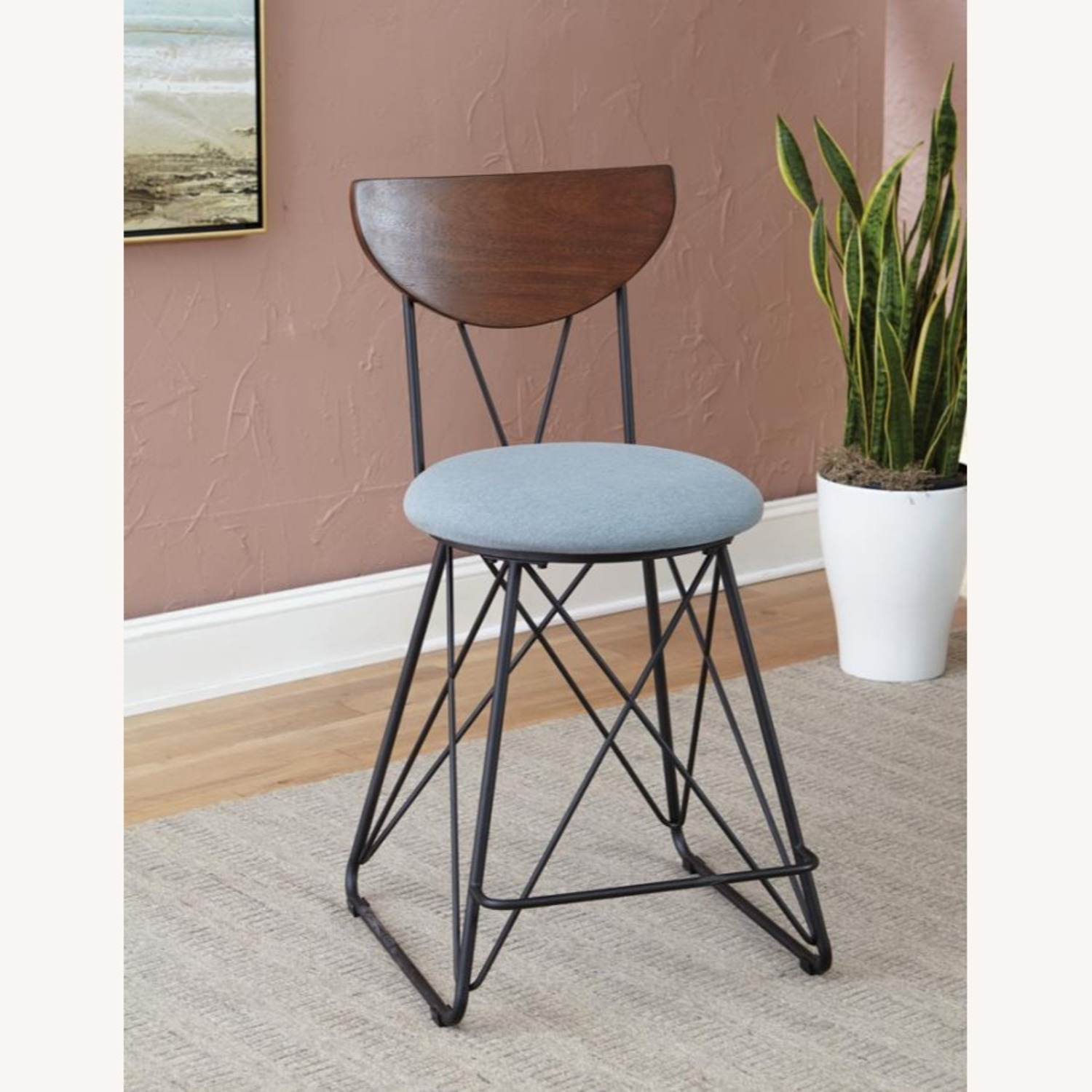 Modern Counter Height Stool In Blue Fabric - image-2