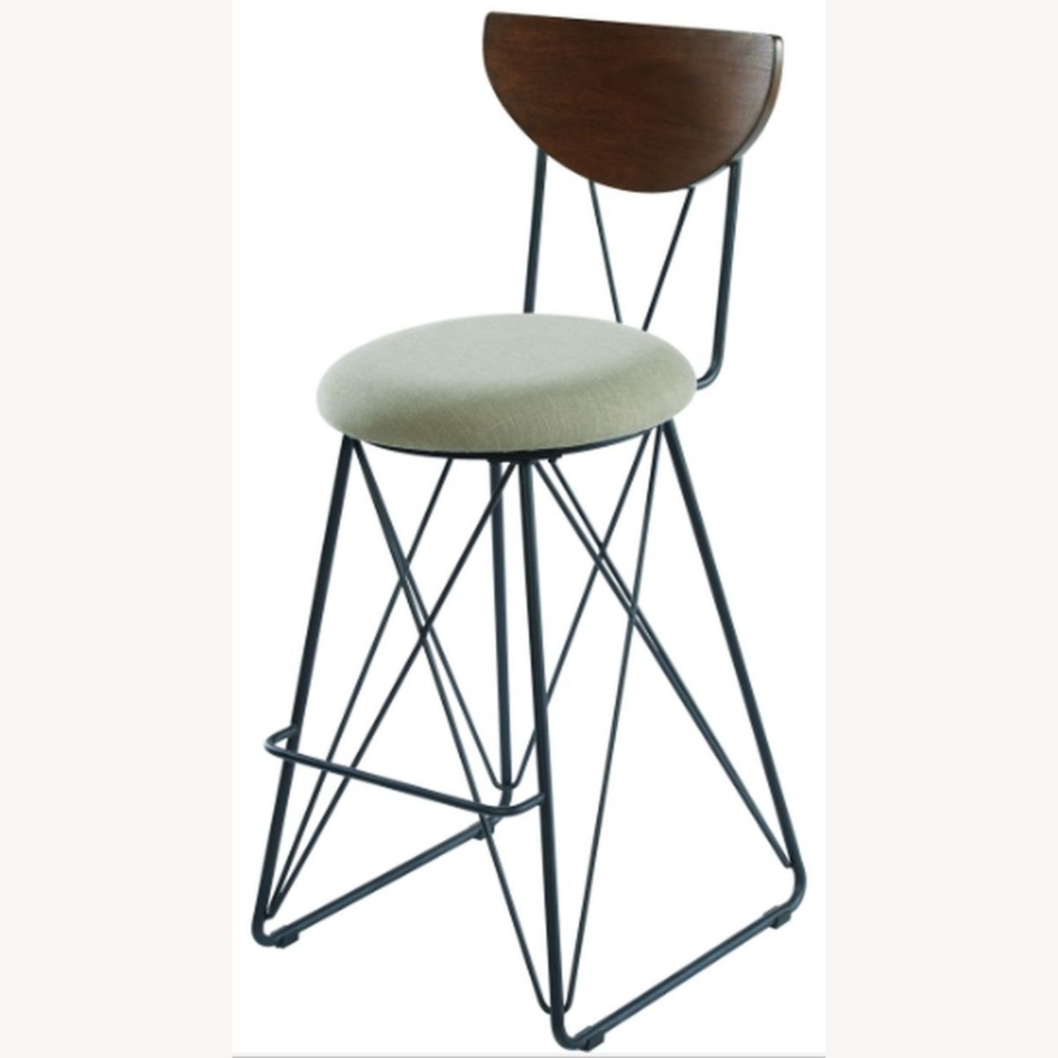 Modern Bar Stool In Linen-Like Green Fabric - image-1