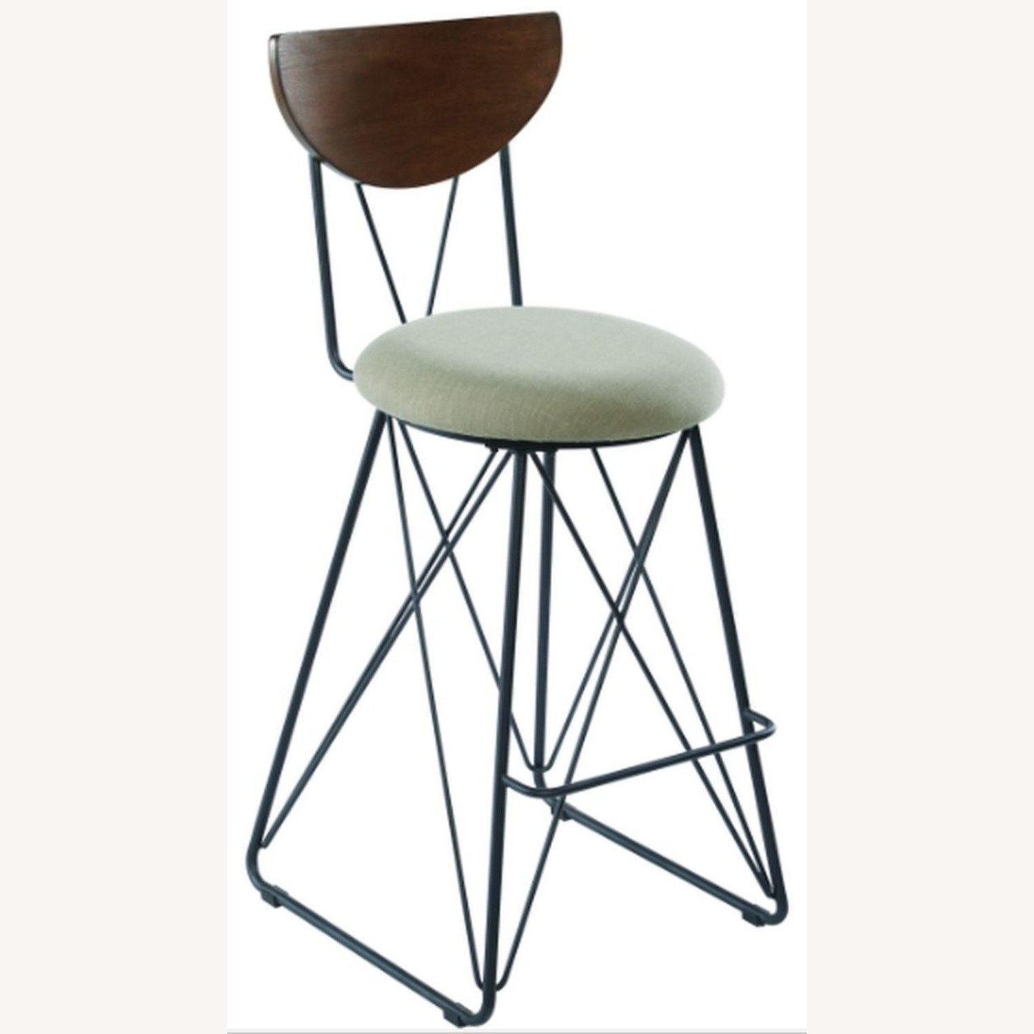 Modern Bar Stool In Linen-Like Green Fabric - image-0