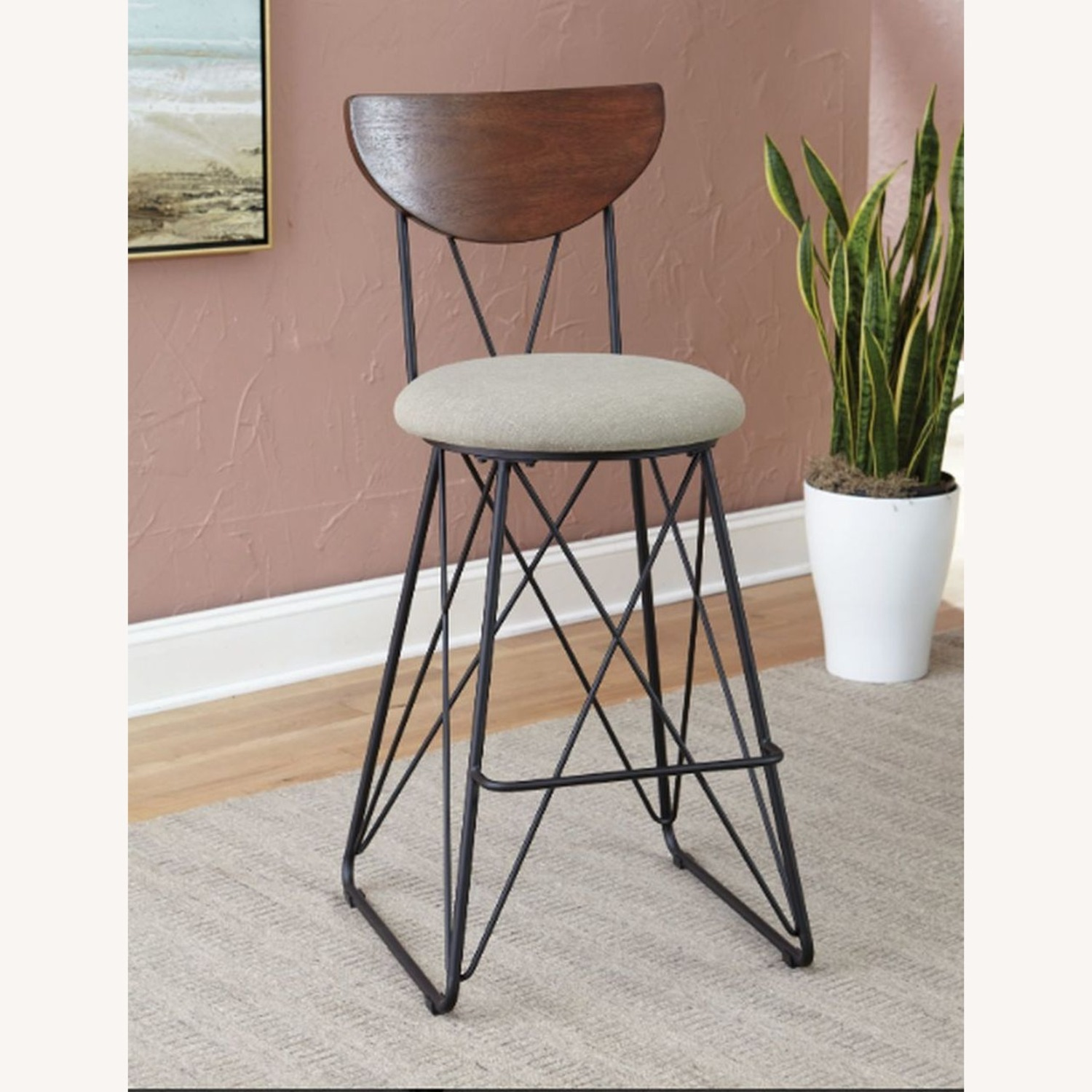Modern Bar Stool In Linen-Like Green Fabric - image-2