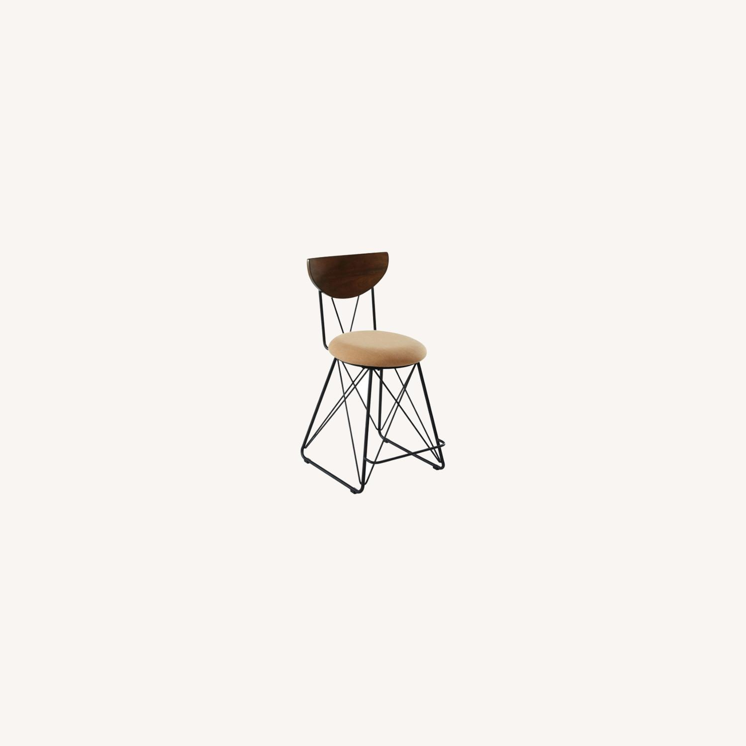 Modern Counter Height Stool In Gold Fabric - image-3
