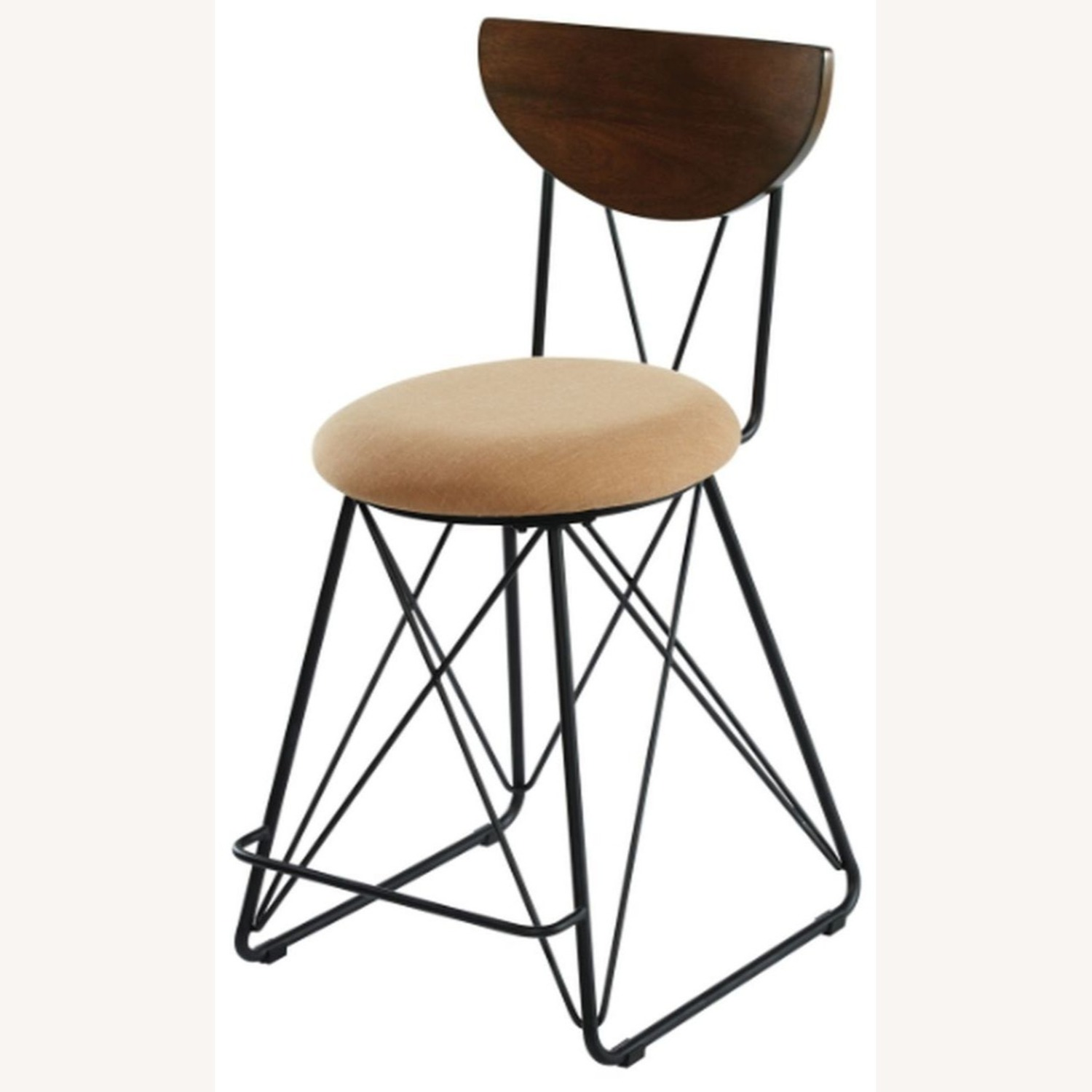 Modern Counter Height Stool In Gold Fabric - image-1