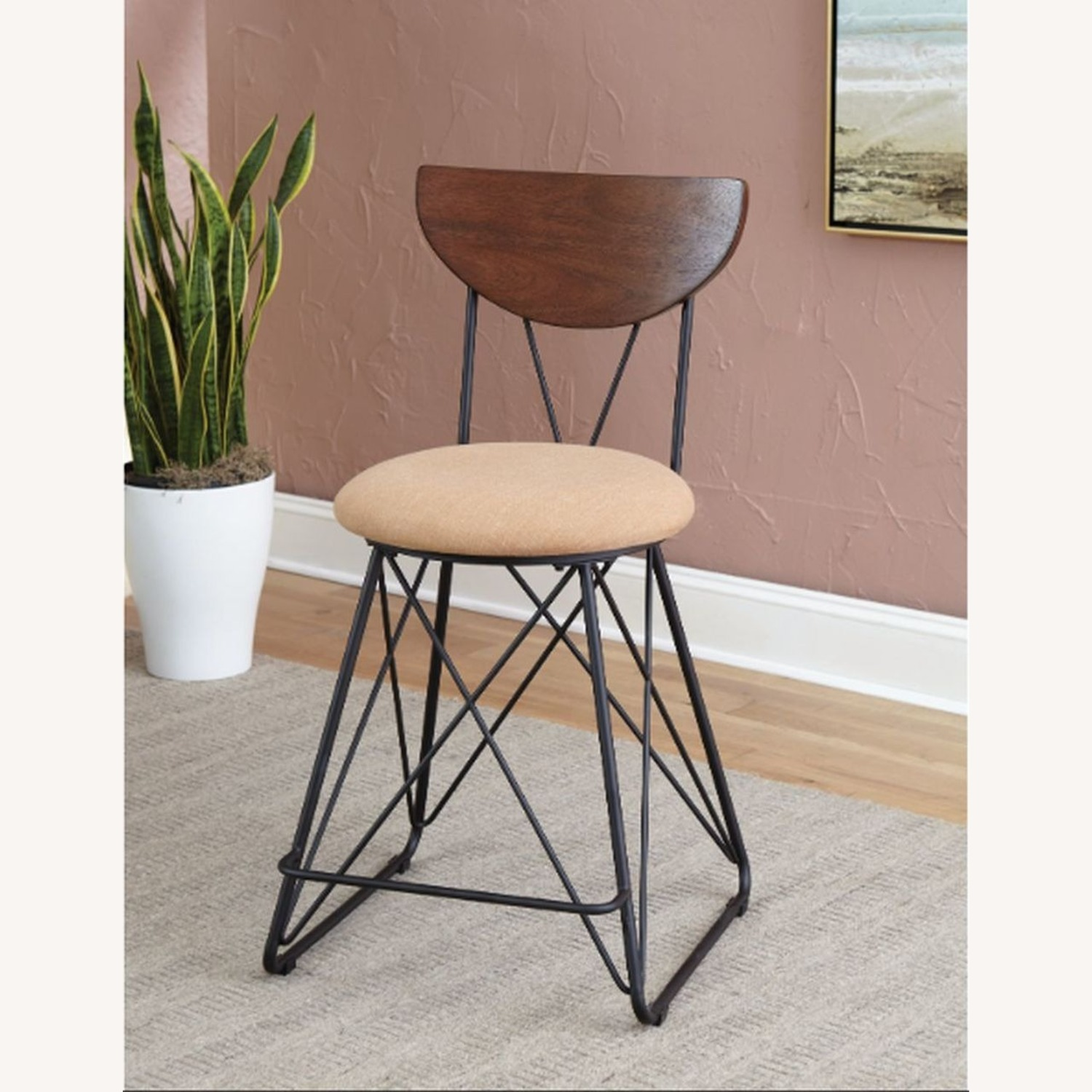Modern Counter Height Stool In Gold Fabric - image-2