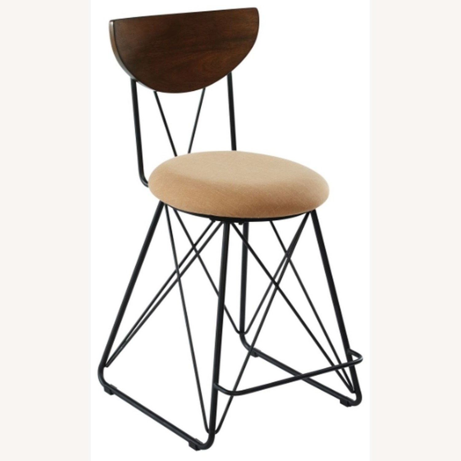 Modern Counter Height Stool In Gold Fabric - image-0