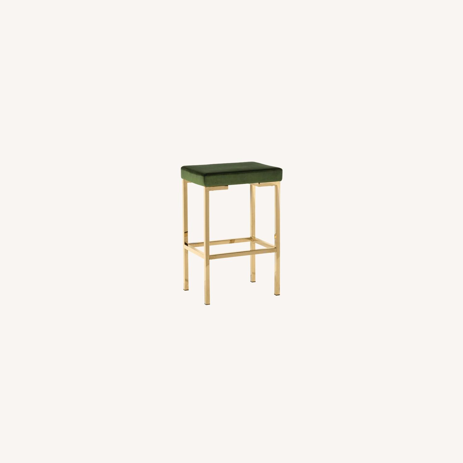 Minimalist Bar Stool In Green W/ Rose Brass Base - image-3