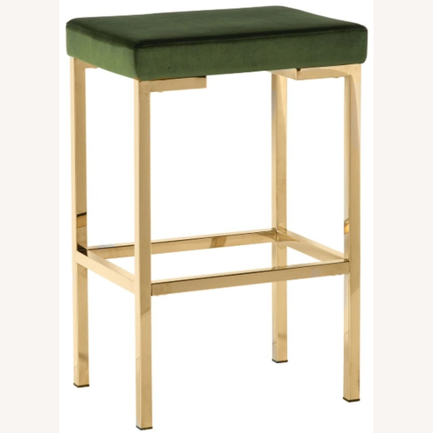 Minimalist Bar Stool In Green W/ Rose Brass Base - image-0