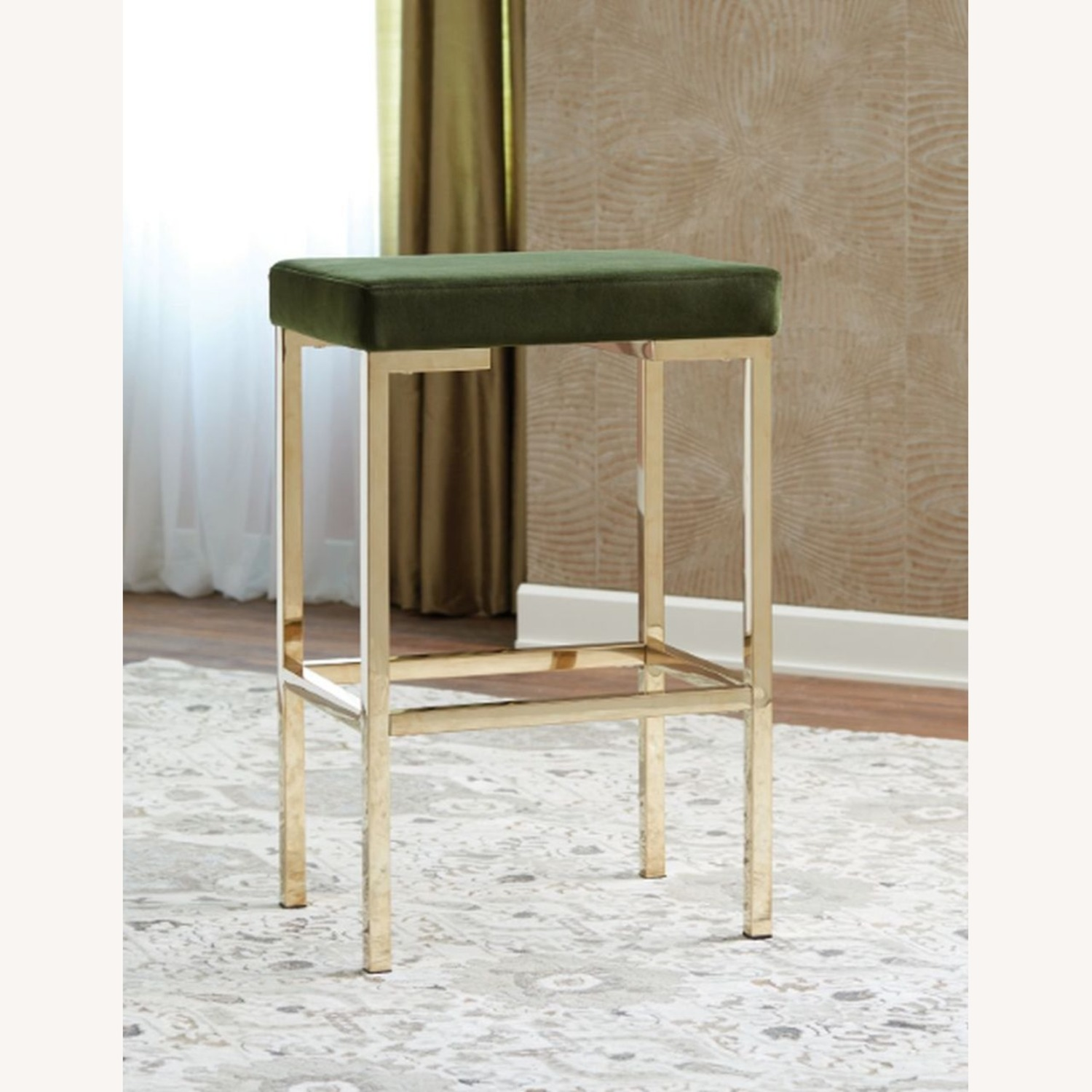 Minimalist Bar Stool In Green W/ Rose Brass Base - image-2