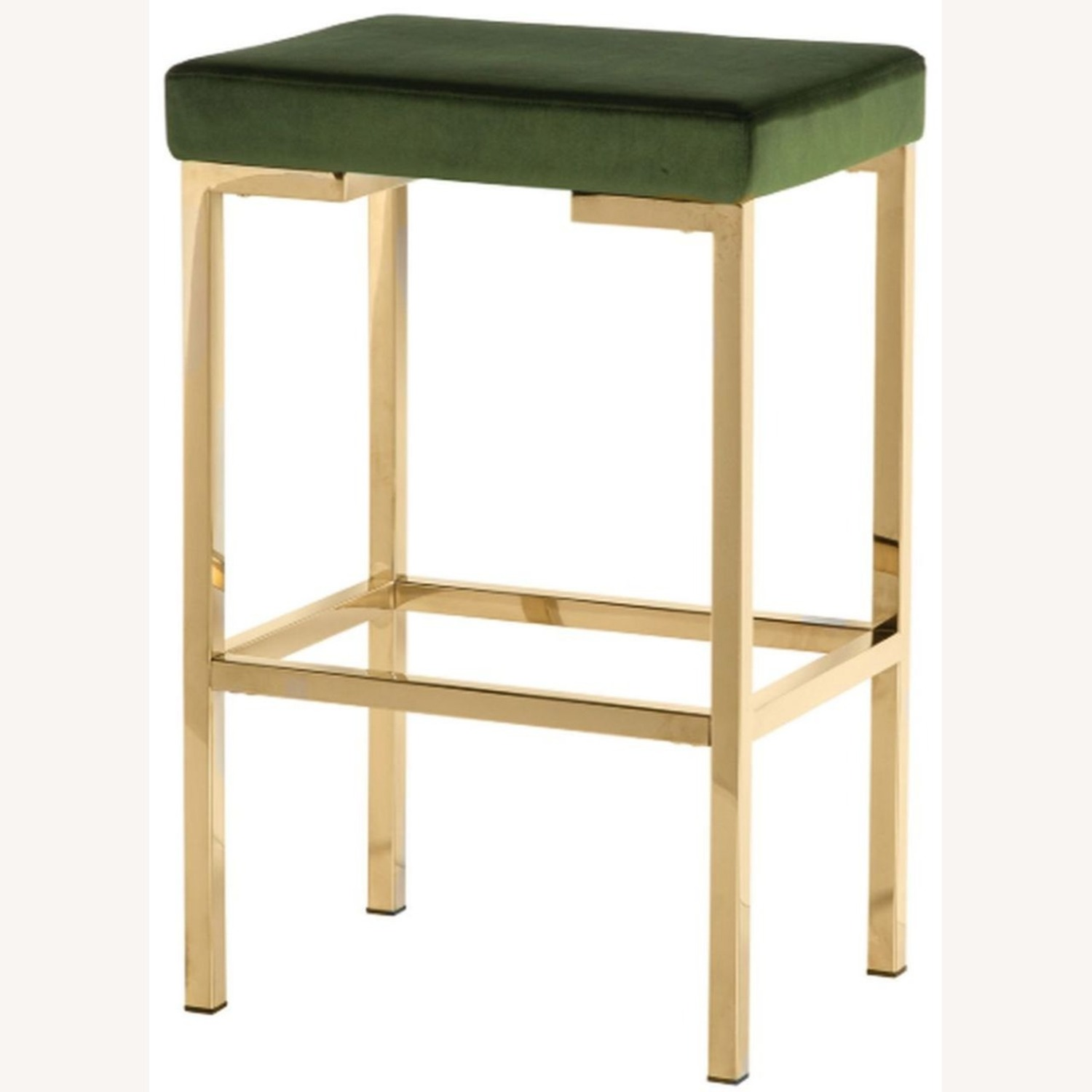 Minimalist Bar Stool In Green W/ Rose Brass Base - image-1