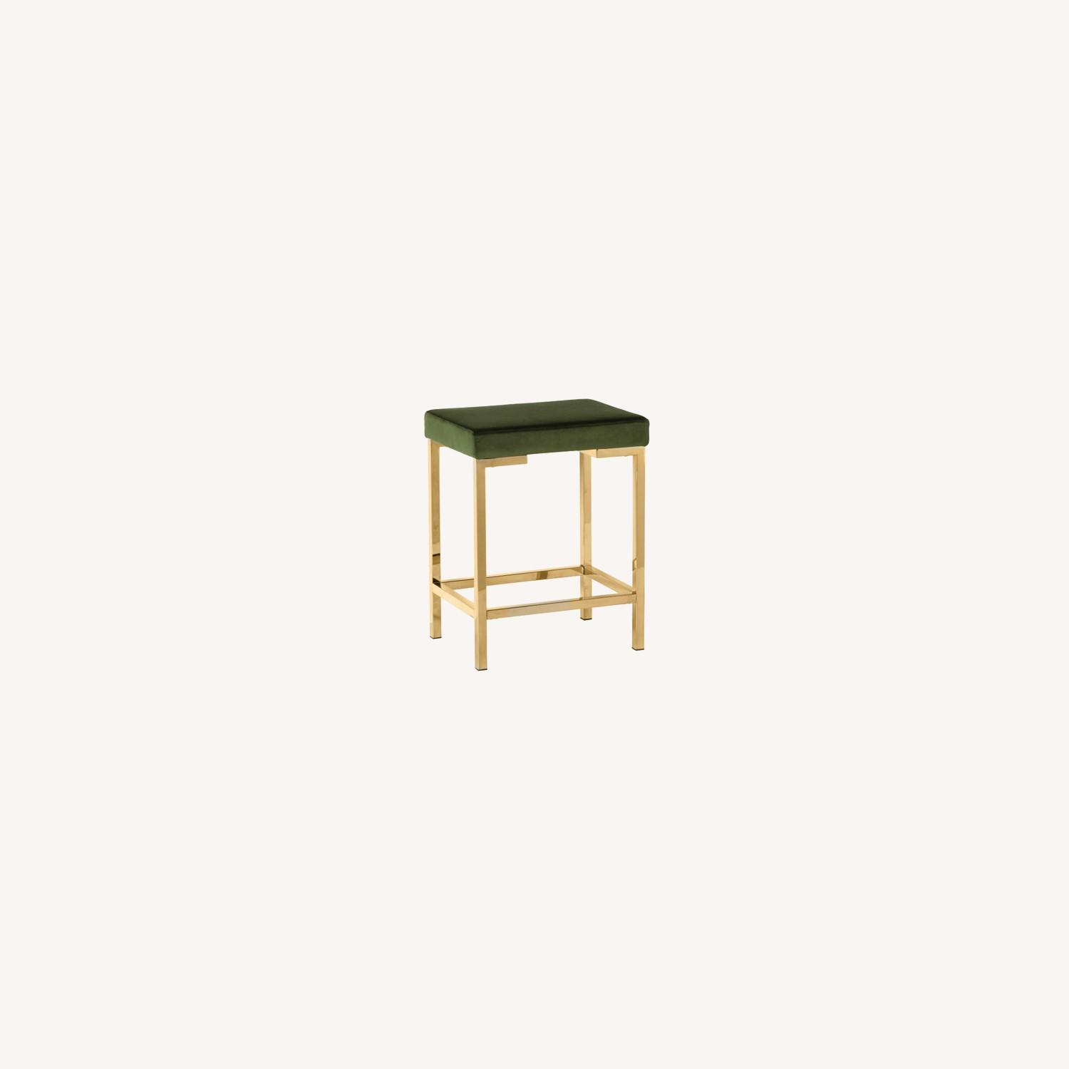Minimalist Counter Height Stool In Green Fabric - image-3