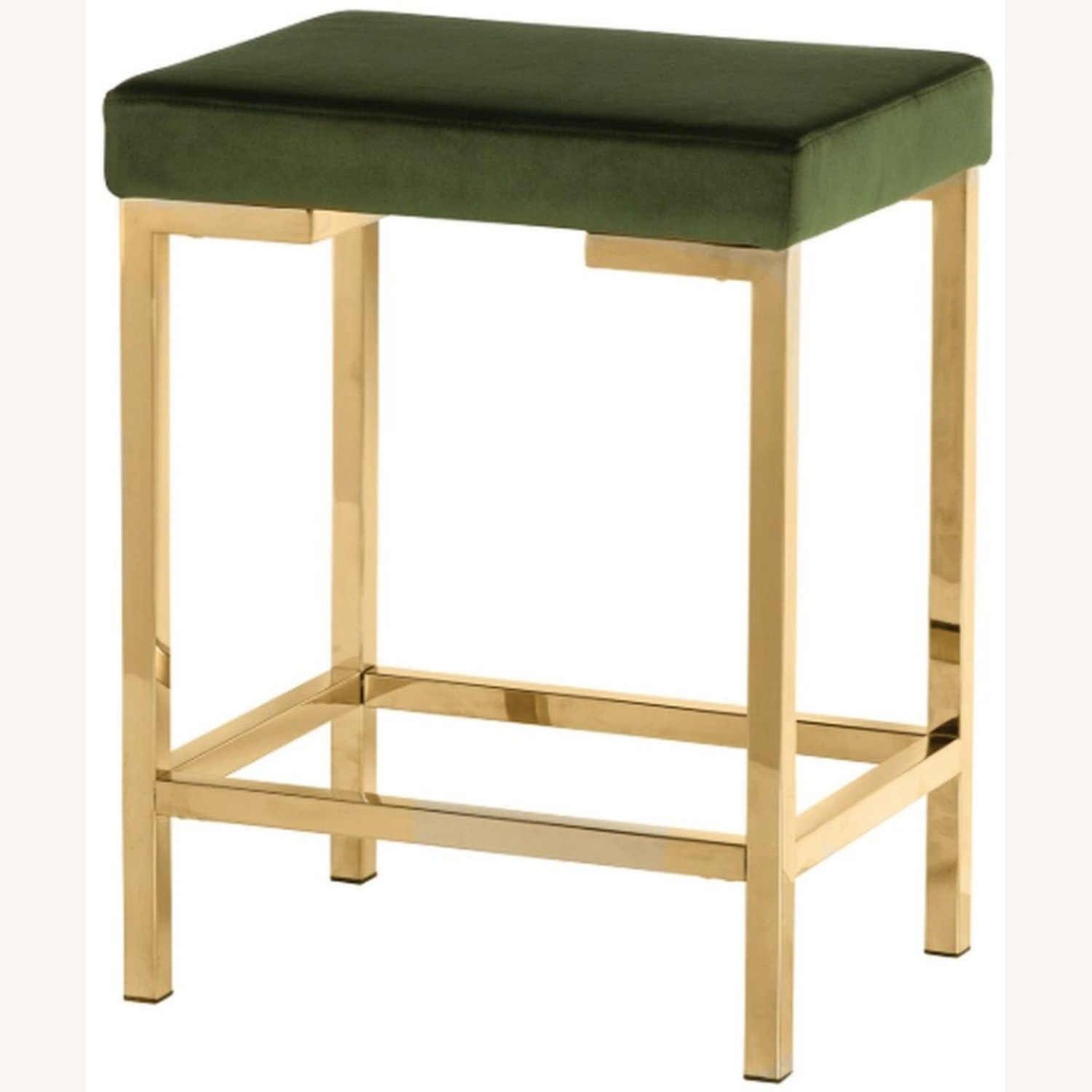 Minimalist Counter Height Stool In Green Fabric - image-1
