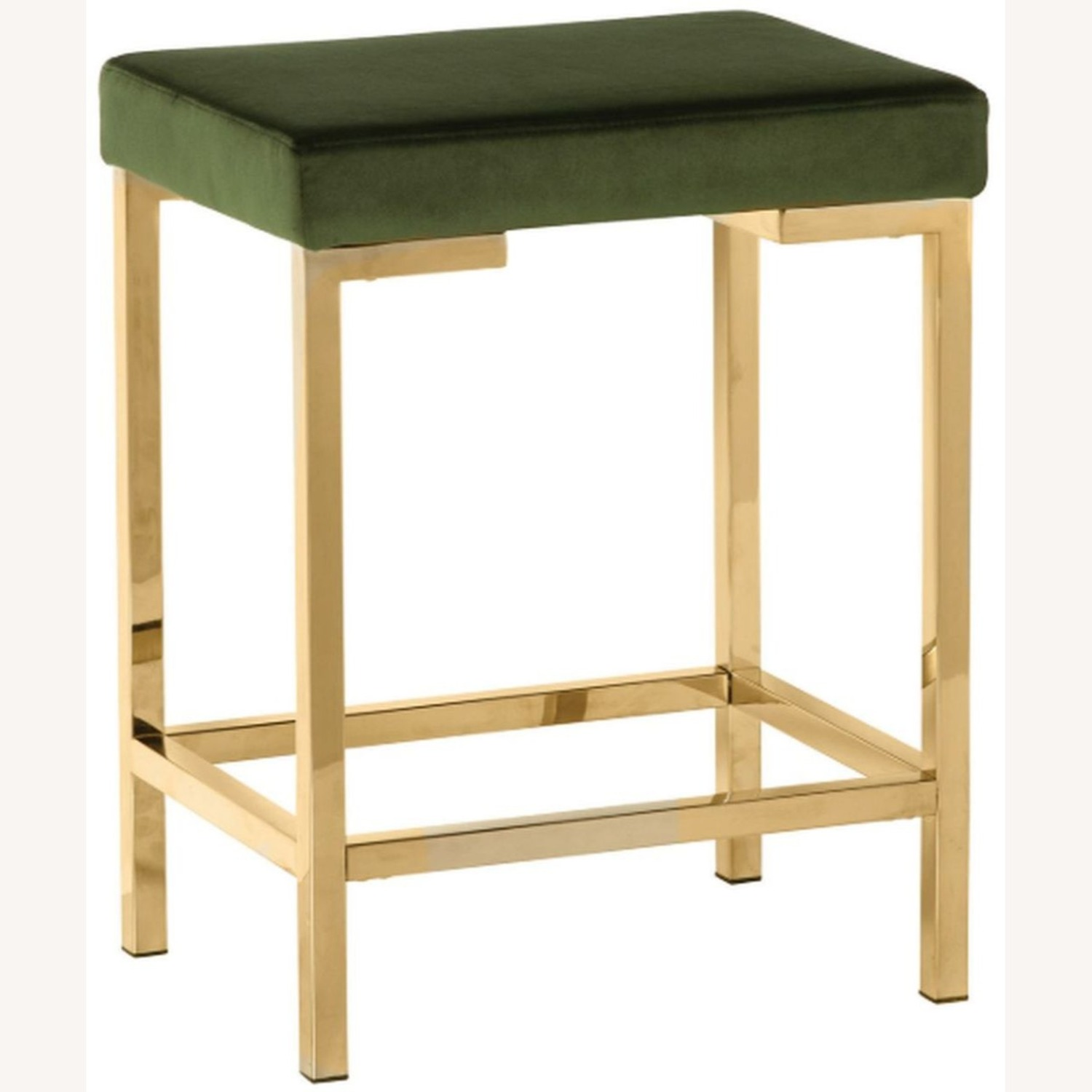 Minimalist Counter Height Stool In Green Fabric - image-0