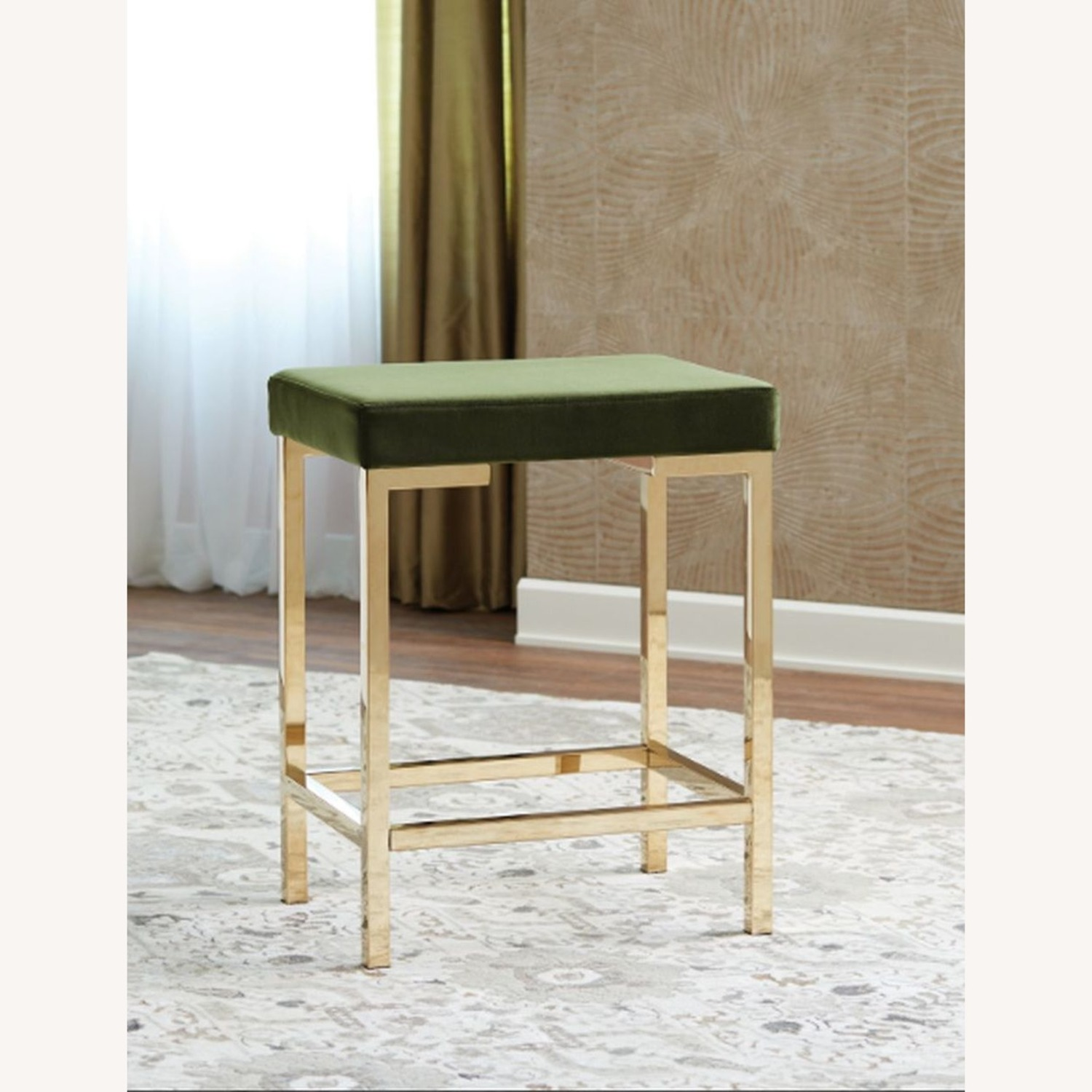 Minimalist Counter Height Stool In Green Fabric - image-2