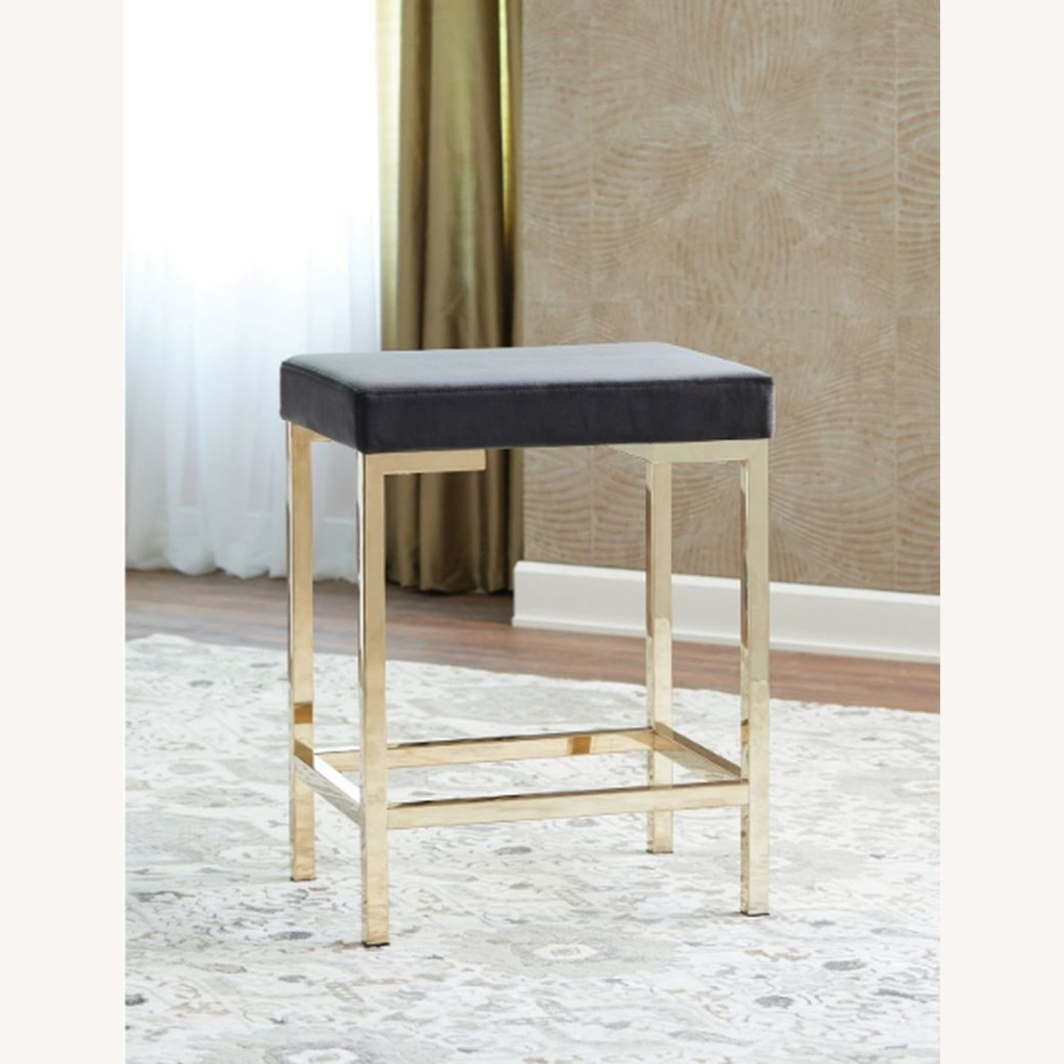 Minimalist Counter Height Stool In Charcoal Grey - image-2