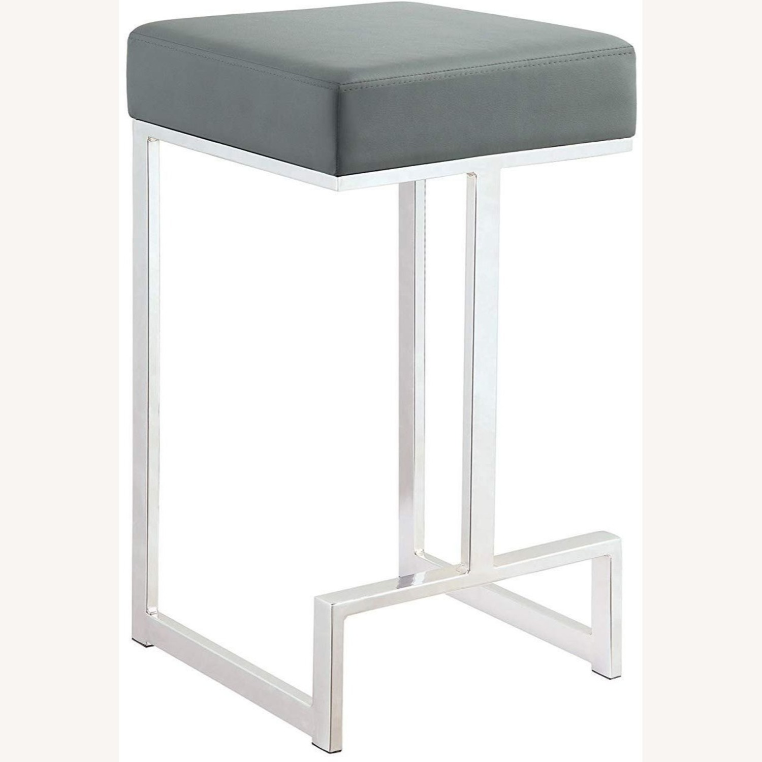 Modern Counter Height Stool In Grey Faux Leather - image-0