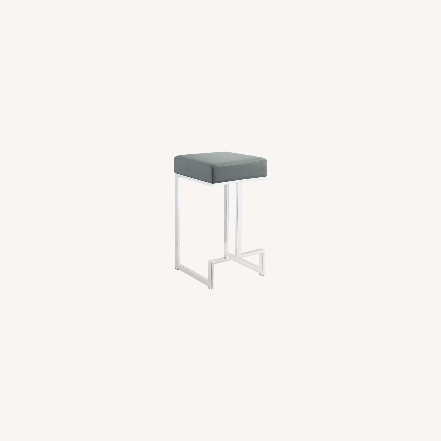 Modern Counter Height Stool In Grey Faux Leather - image-3