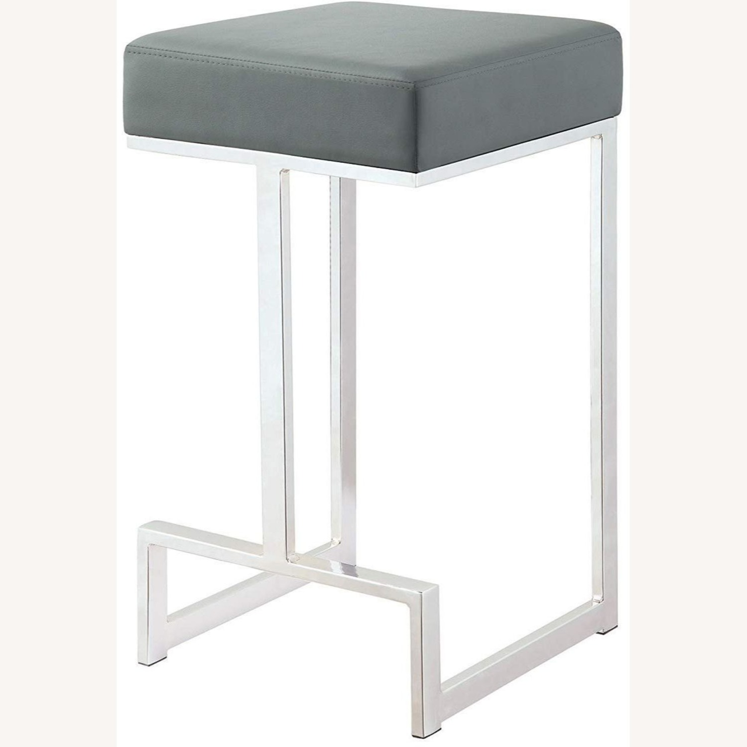 Modern Counter Height Stool In Grey Faux Leather - image-1