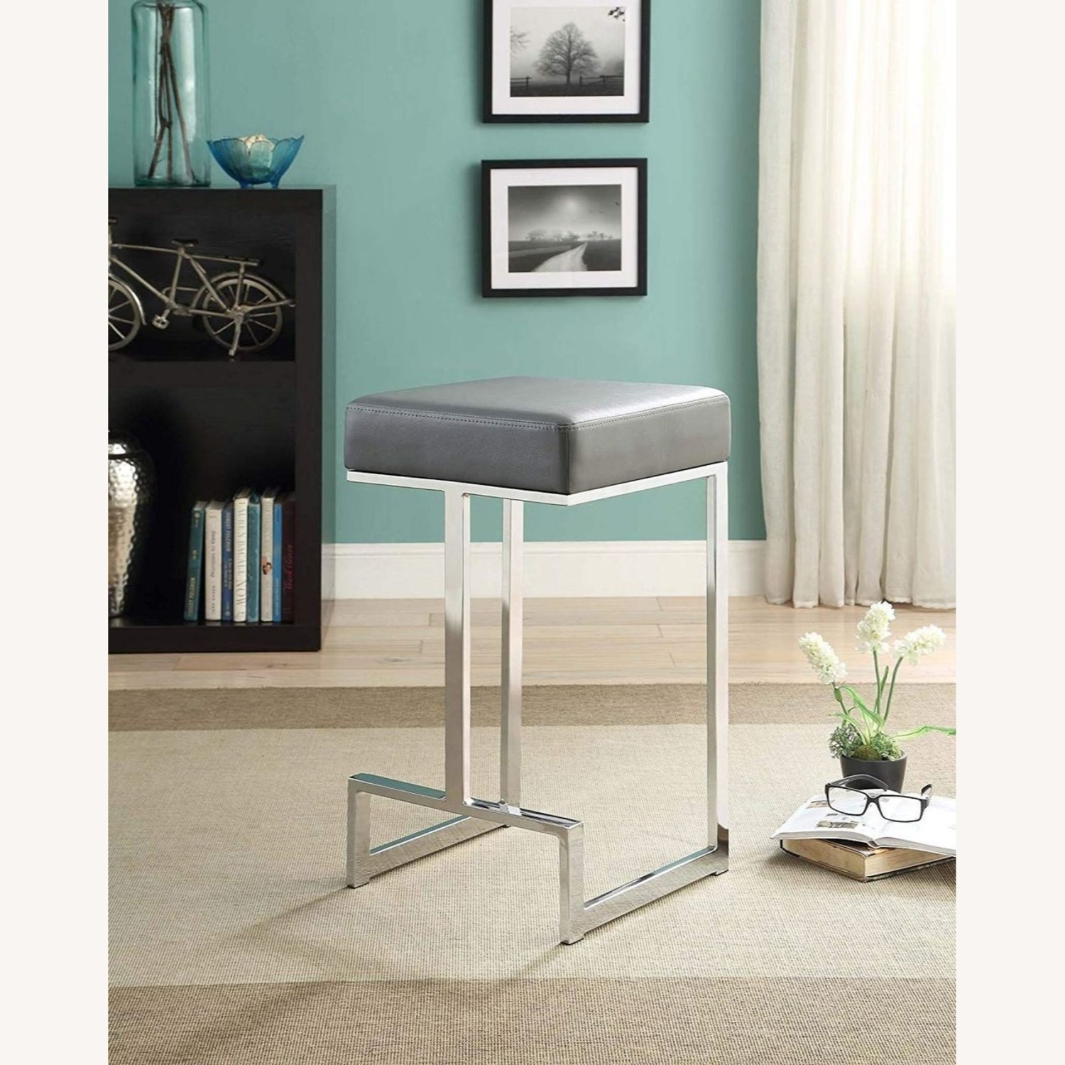 Modern Counter Height Stool In Grey Faux Leather - image-2