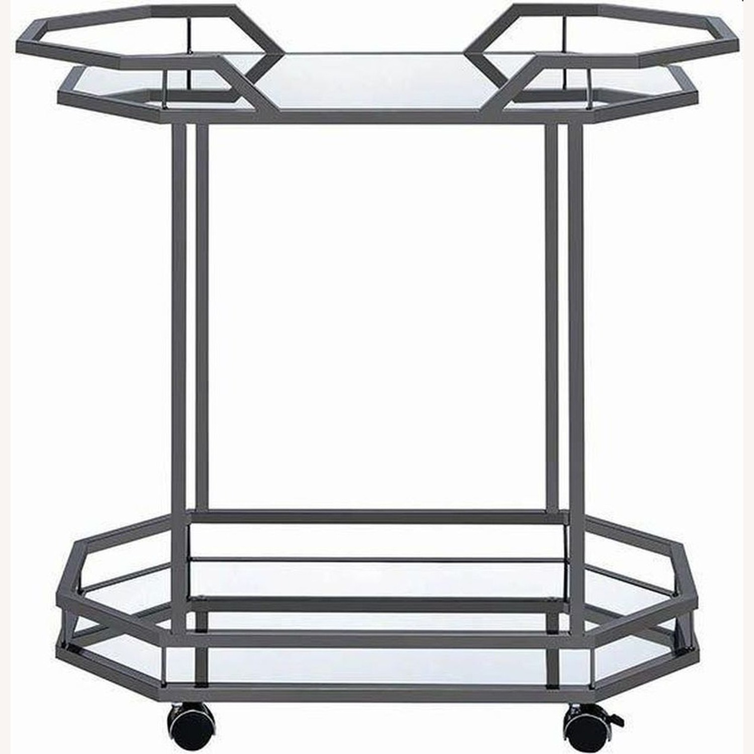 Serving Cart In Black Nickel W/ Mirrored Bottom - image-1