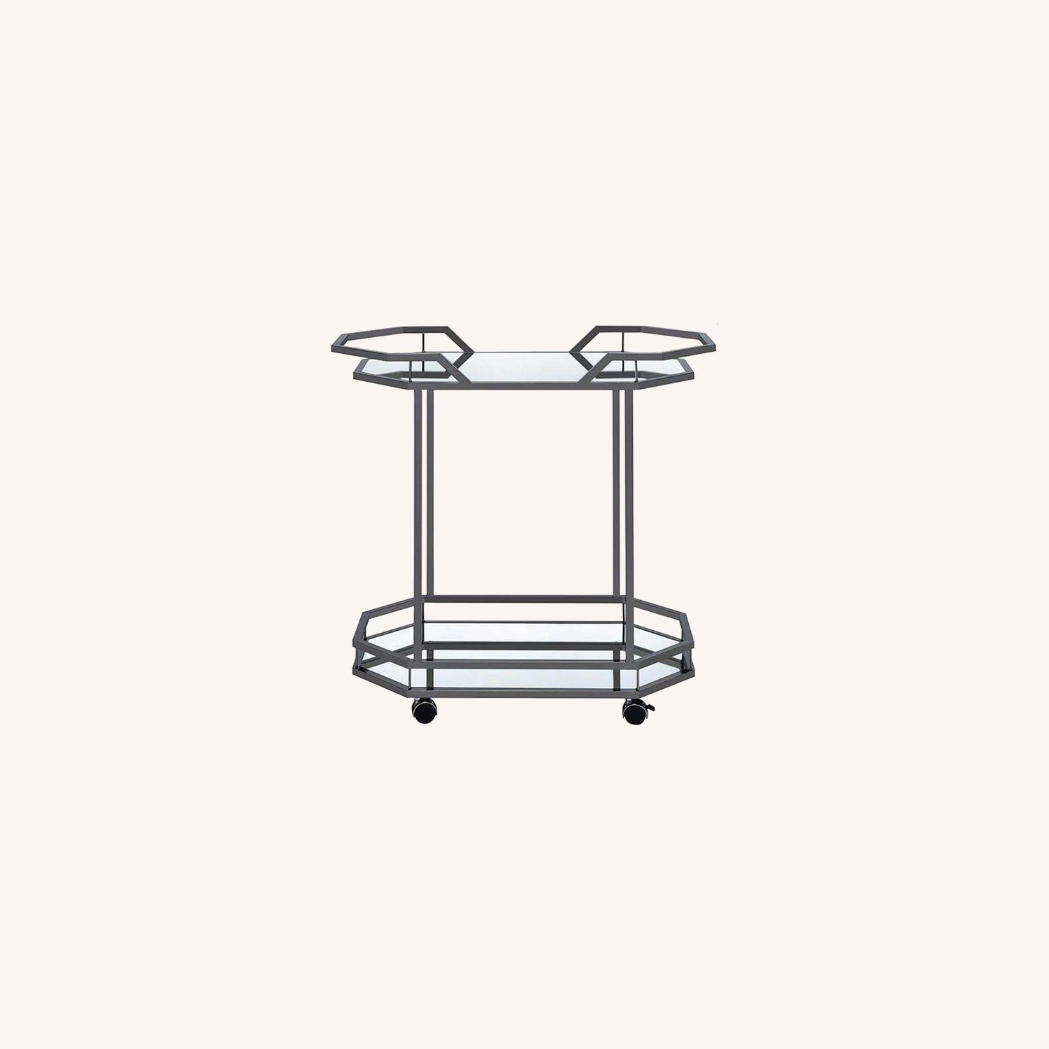 Serving Cart In Black Nickel W/ Mirrored Bottom - image-4