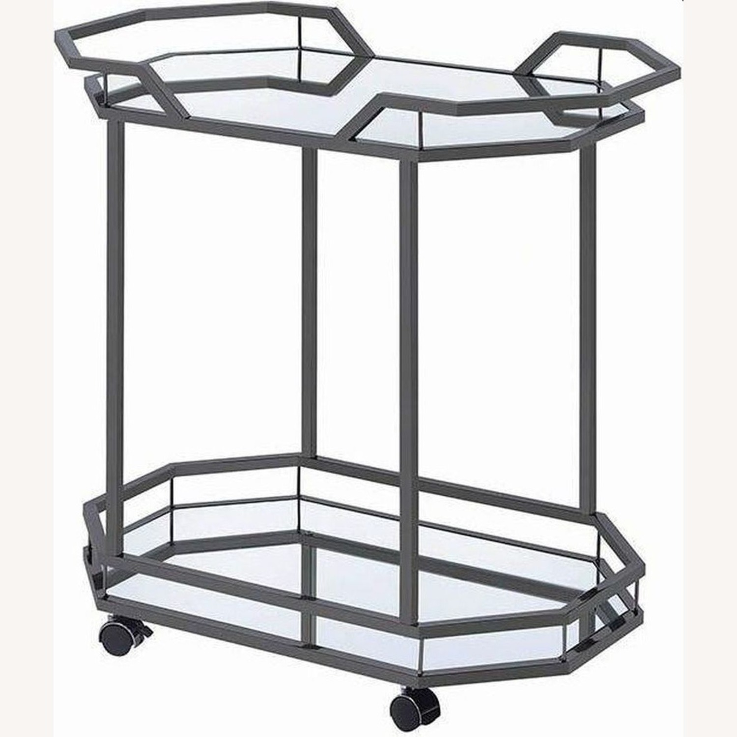 Serving Cart In Black Nickel W/ Mirrored Bottom - image-0