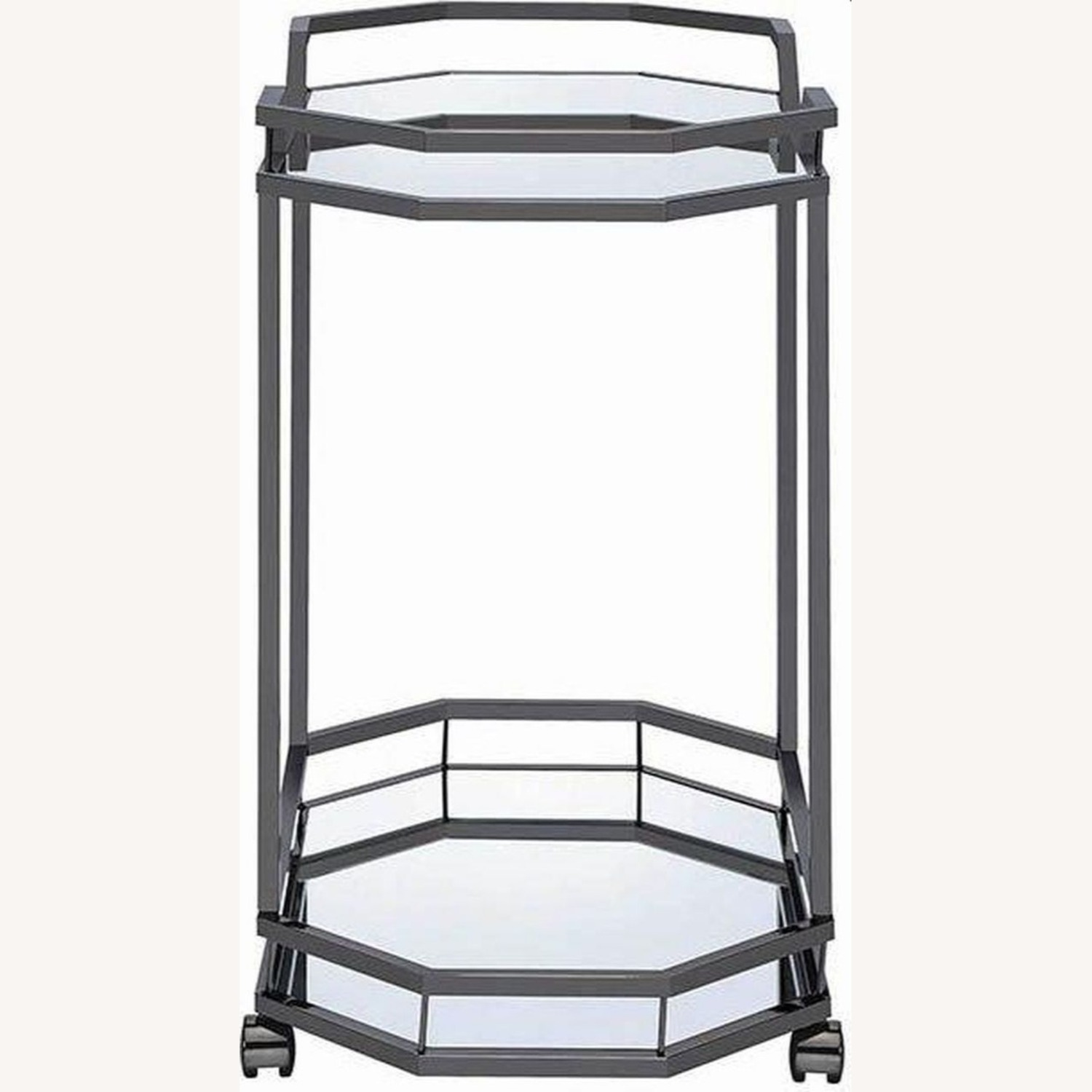 Serving Cart In Black Nickel W/ Mirrored Bottom - image-2