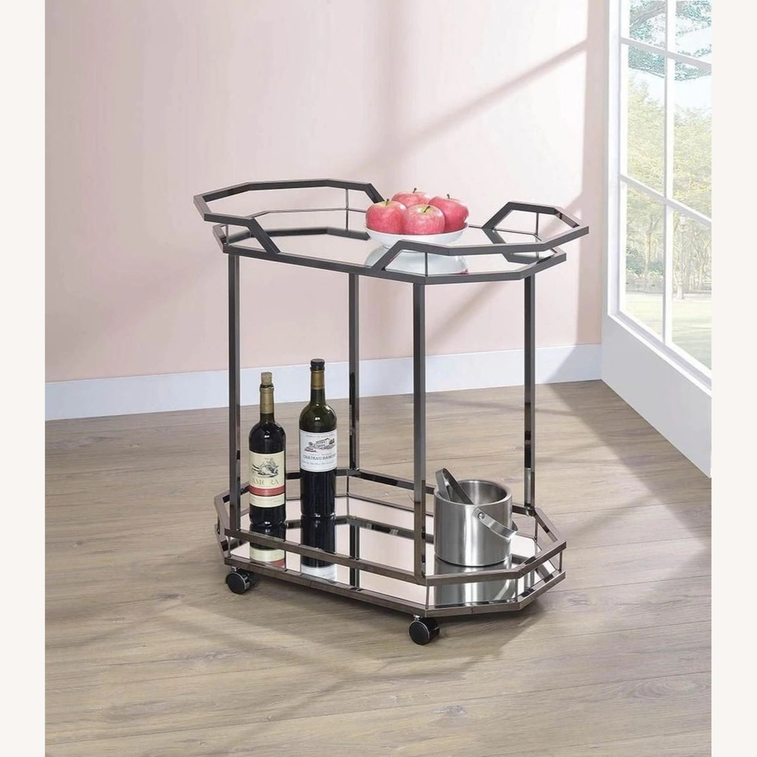 Serving Cart In Black Nickel W/ Mirrored Bottom - image-3