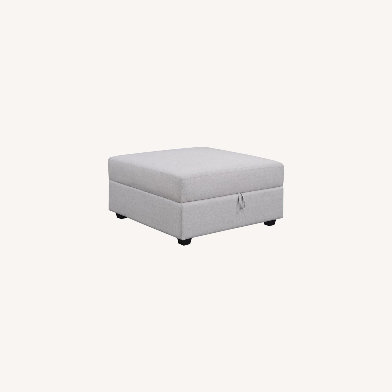 Storage Ottoman In Linen-Like Grey Fabric - image-5