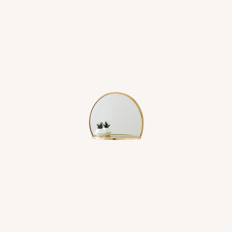 West Elm Decorated Brass Circle Shelf Mirror - image-0