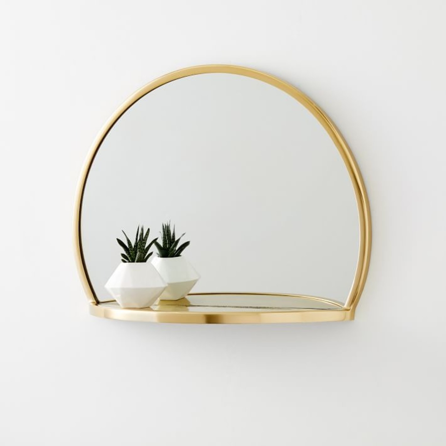 West Elm Decorated Brass Circle Shelf Mirror - image-3