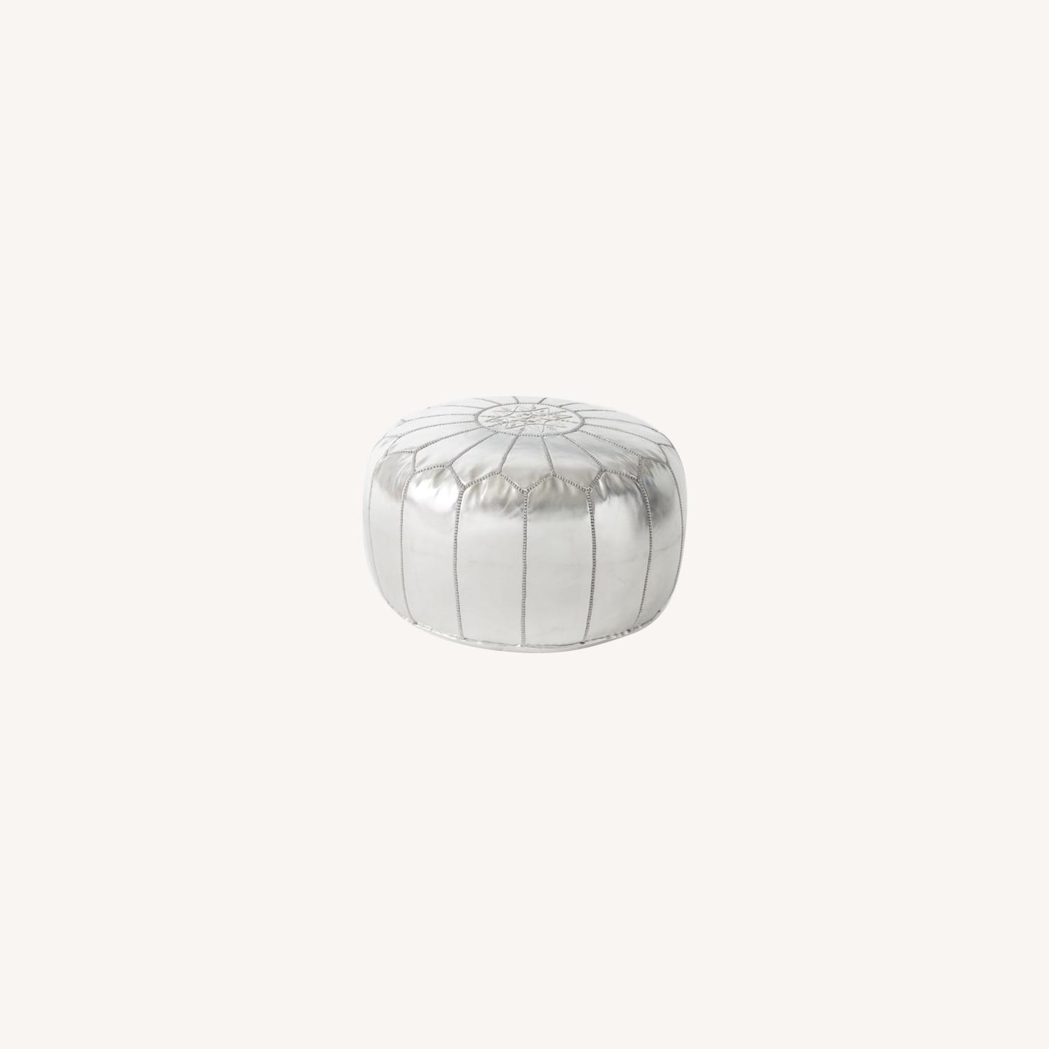 West Elm Leather Moroccan Pouf, Silver - image-0