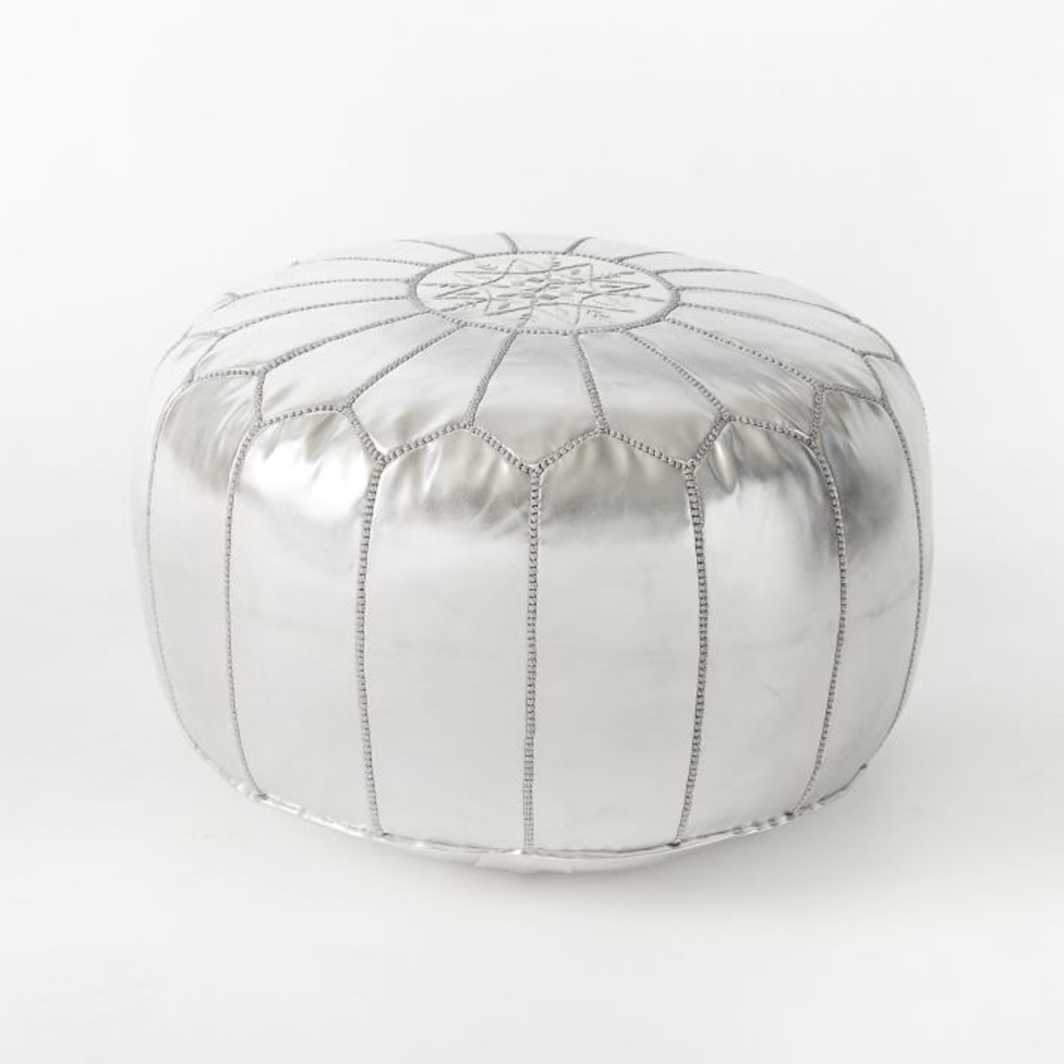 West Elm Leather Moroccan Pouf, Silver - image-1