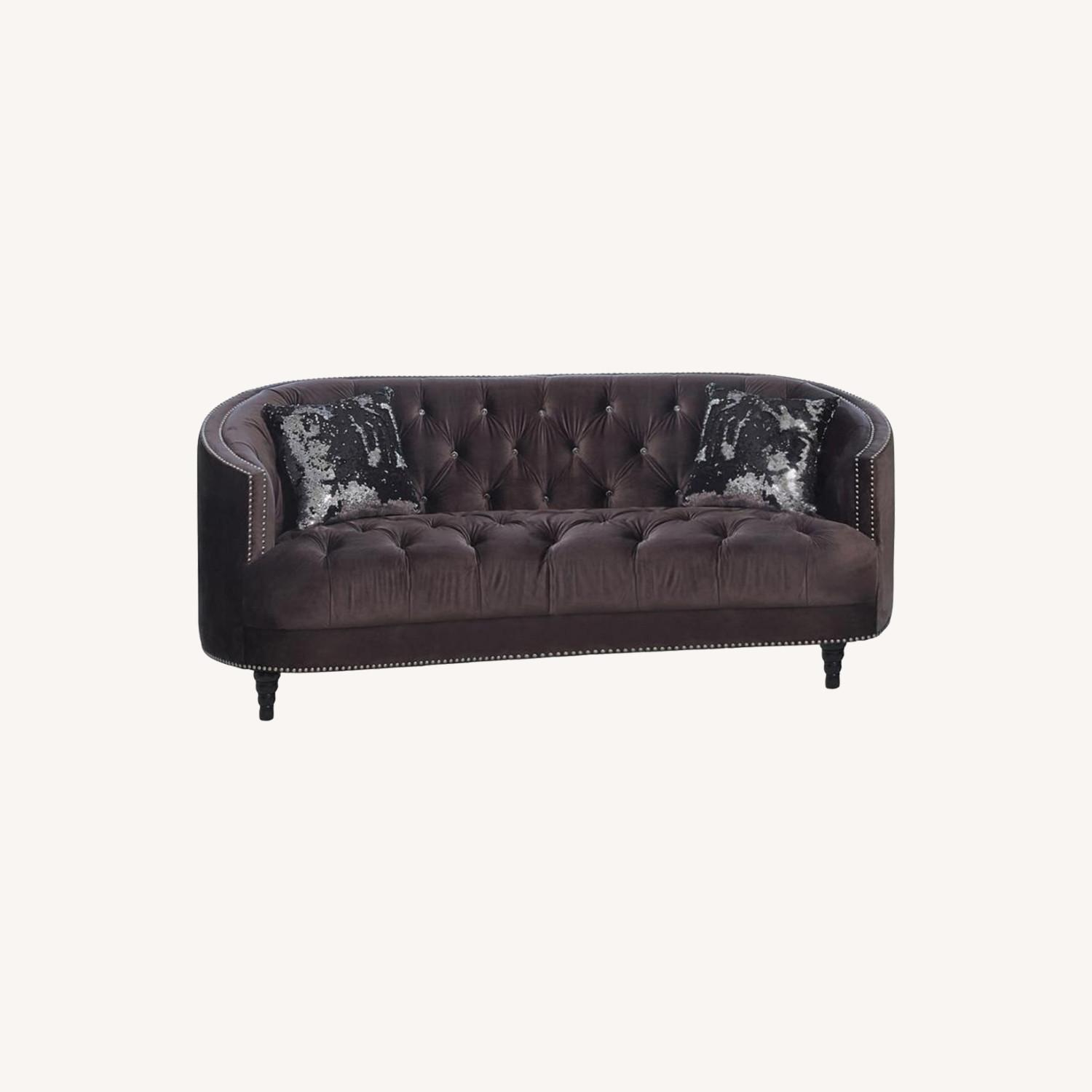 Sofa In C-Shape Finished In Chocolate Brown - image-3