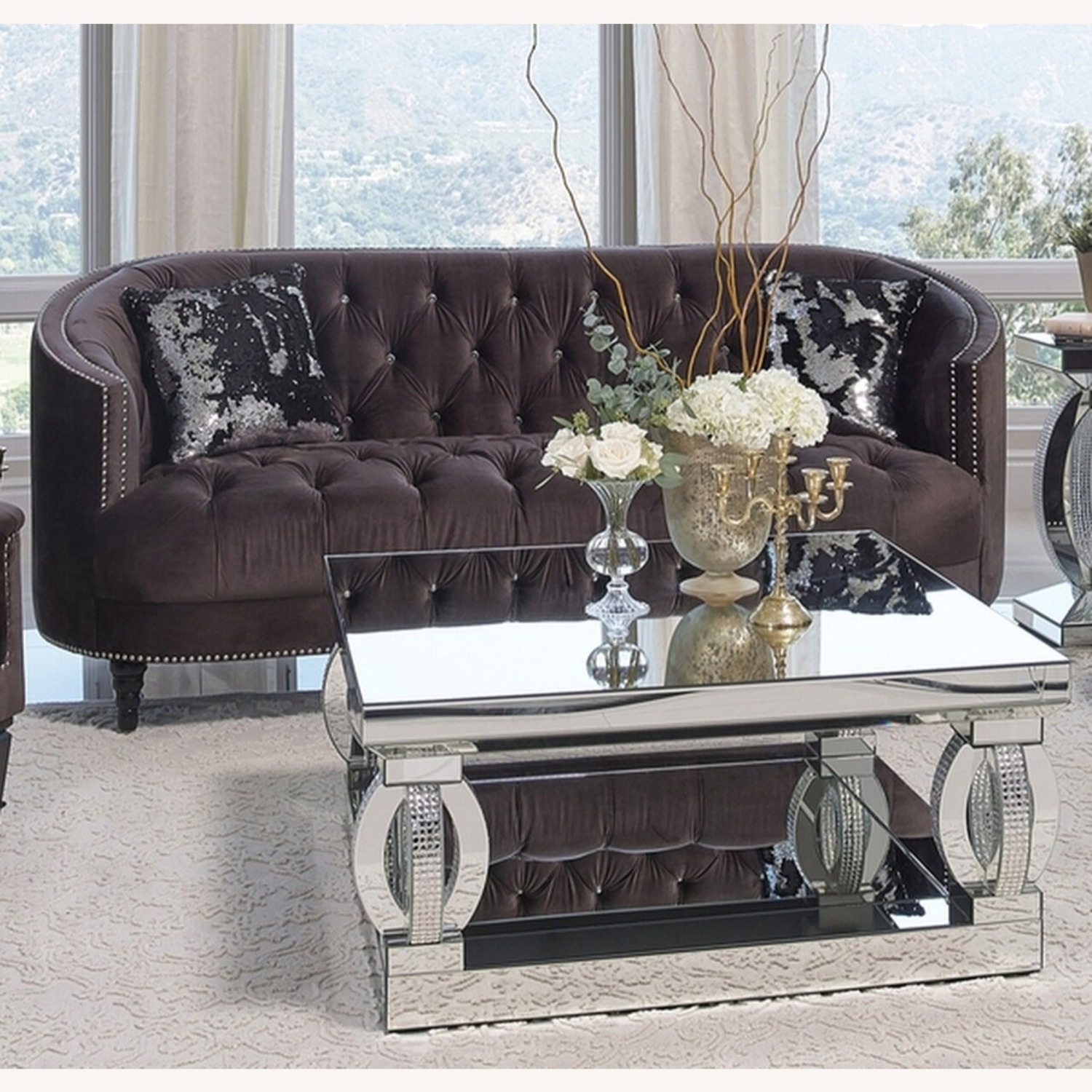 Sofa In C-Shape Finished In Chocolate Brown - image-1