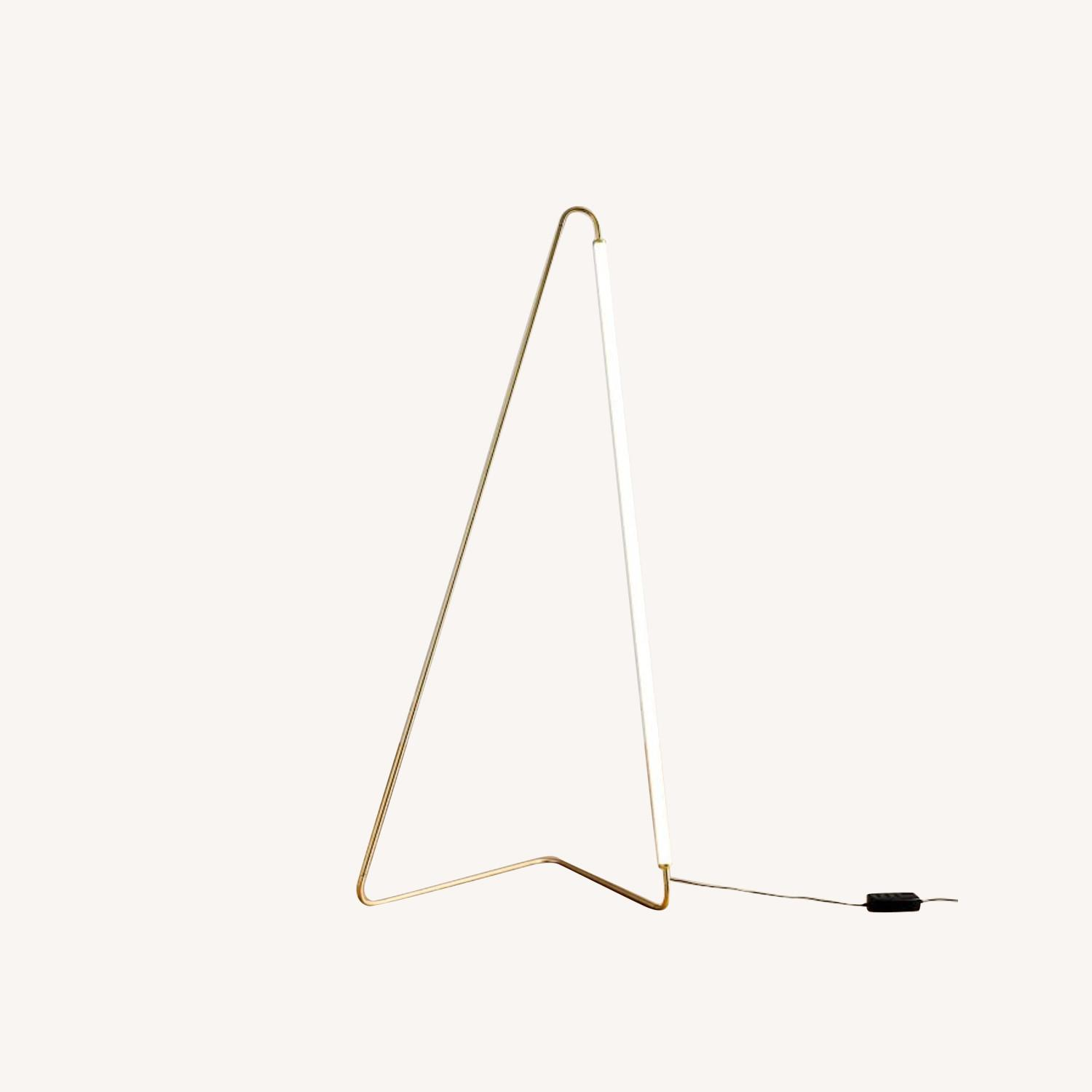 West Elm Line Art Floor Lamp, Antique Brass - image-0