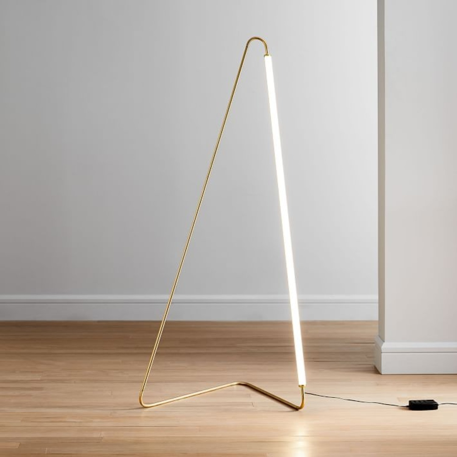 West Elm Line Art Floor Lamp, Antique Brass - image-1