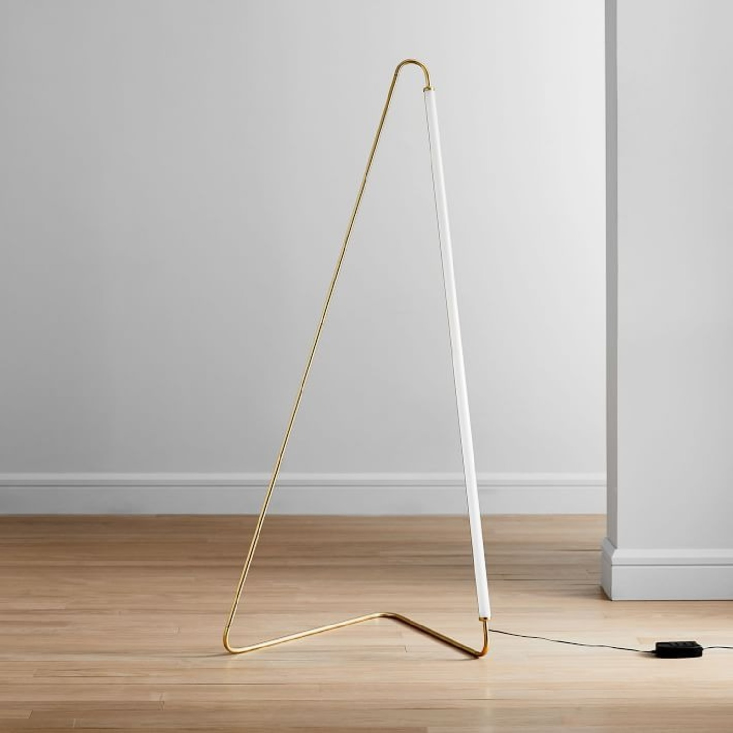 West Elm Line Art Floor Lamp, Antique Brass - image-2