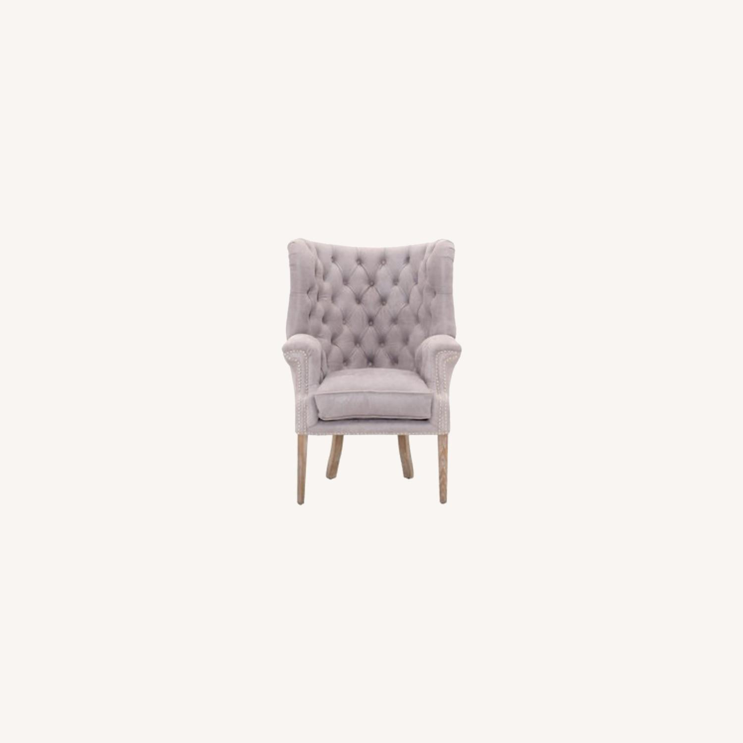 Grey/slight Lavender Leather Wingback Chair - image-0
