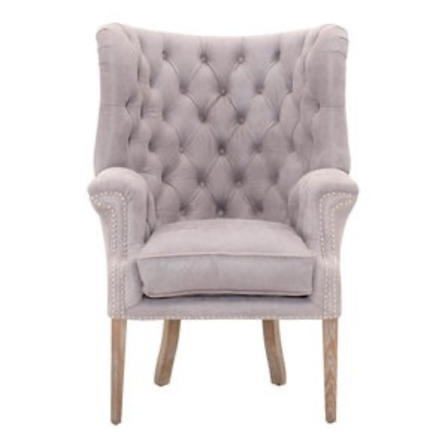 Grey/slight Lavender Leather Wingback Chair - image-1