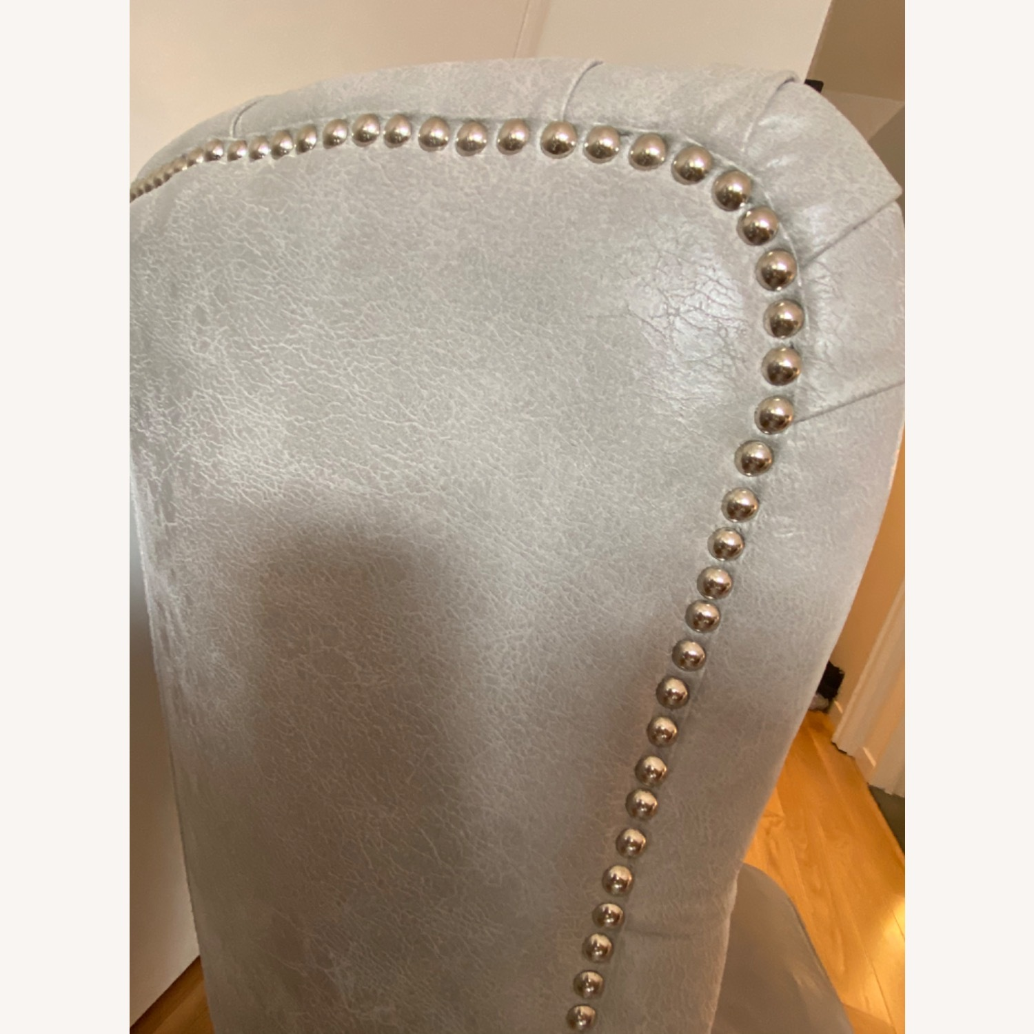 Grey/slight Lavender Leather Wingback Chair - image-6