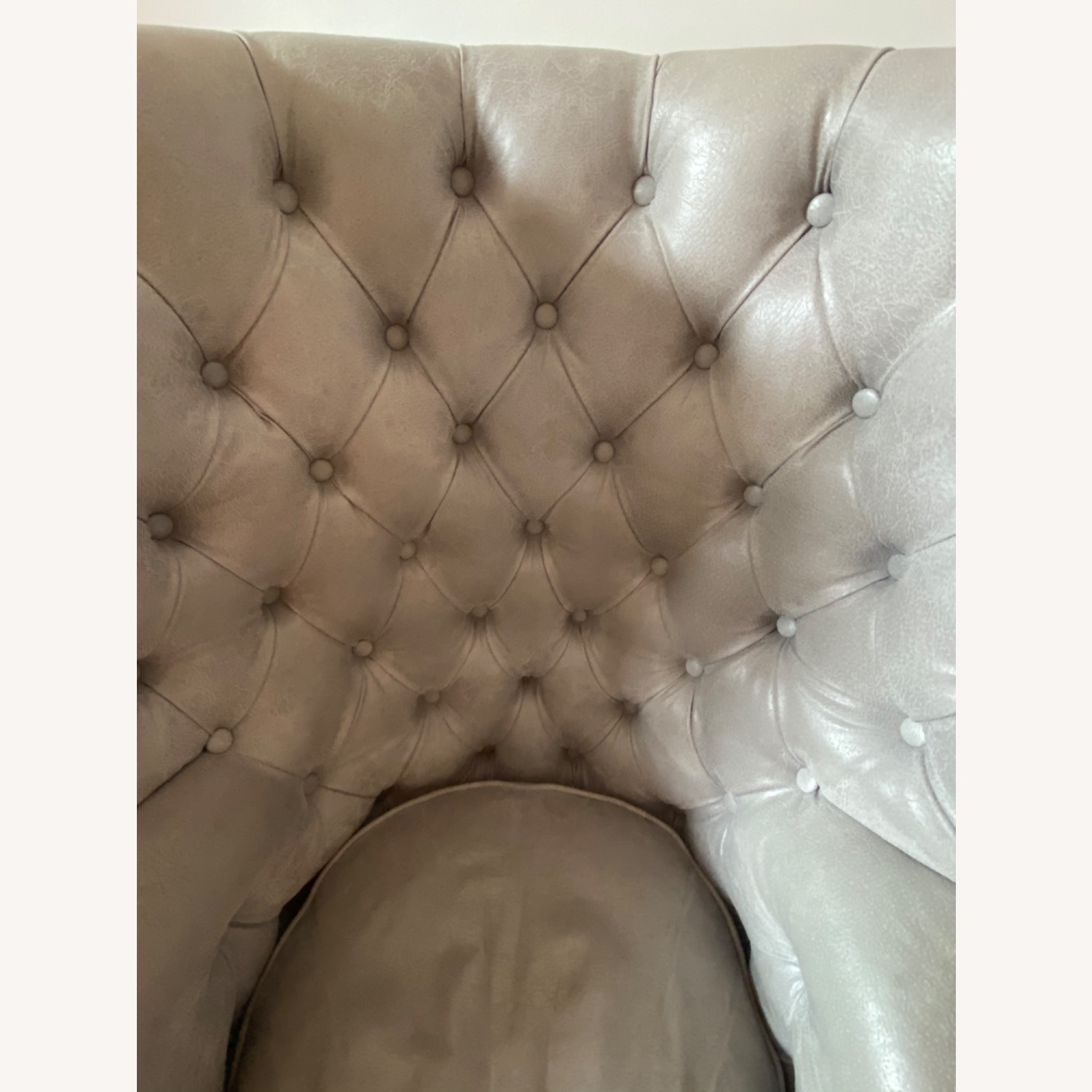 Grey/slight Lavender Leather Wingback Chair - image-9