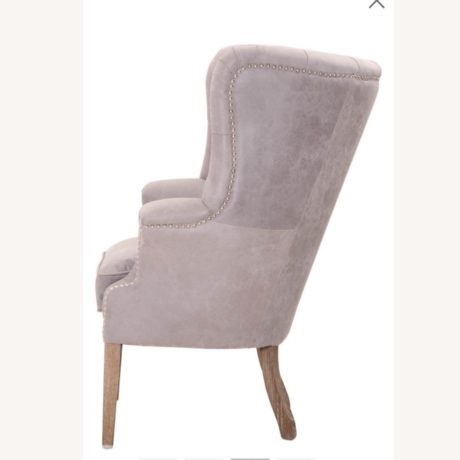 Grey/slight Lavender Leather Wingback Chair - image-2