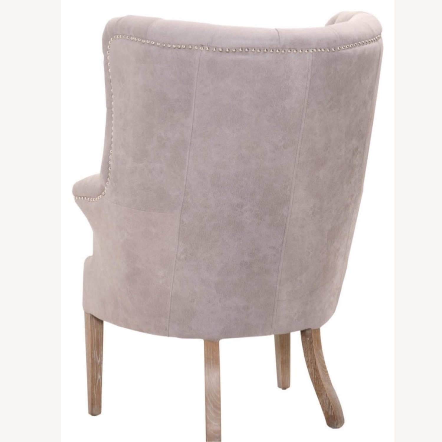 Grey/slight Lavender Leather Wingback Chair - image-3