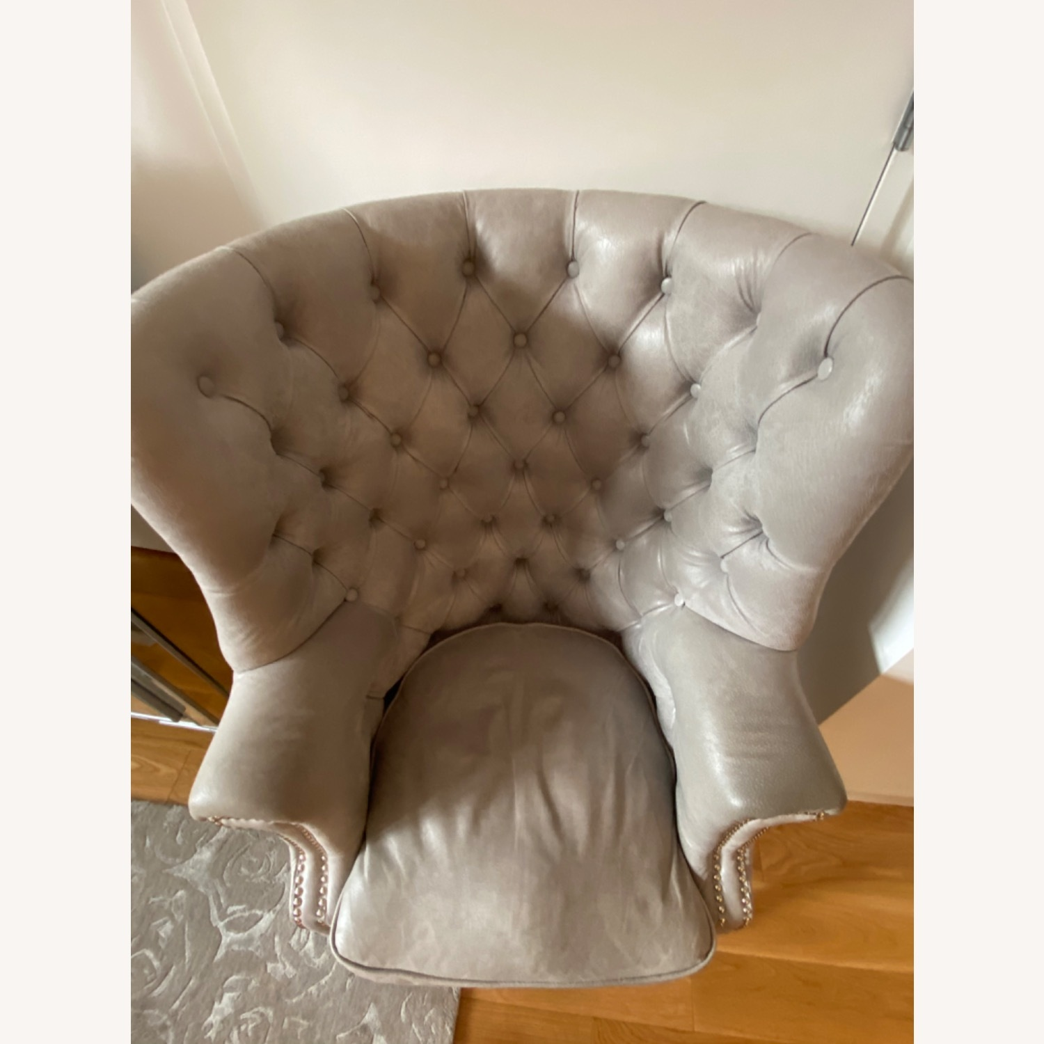 Grey/slight Lavender Leather Wingback Chair - image-8